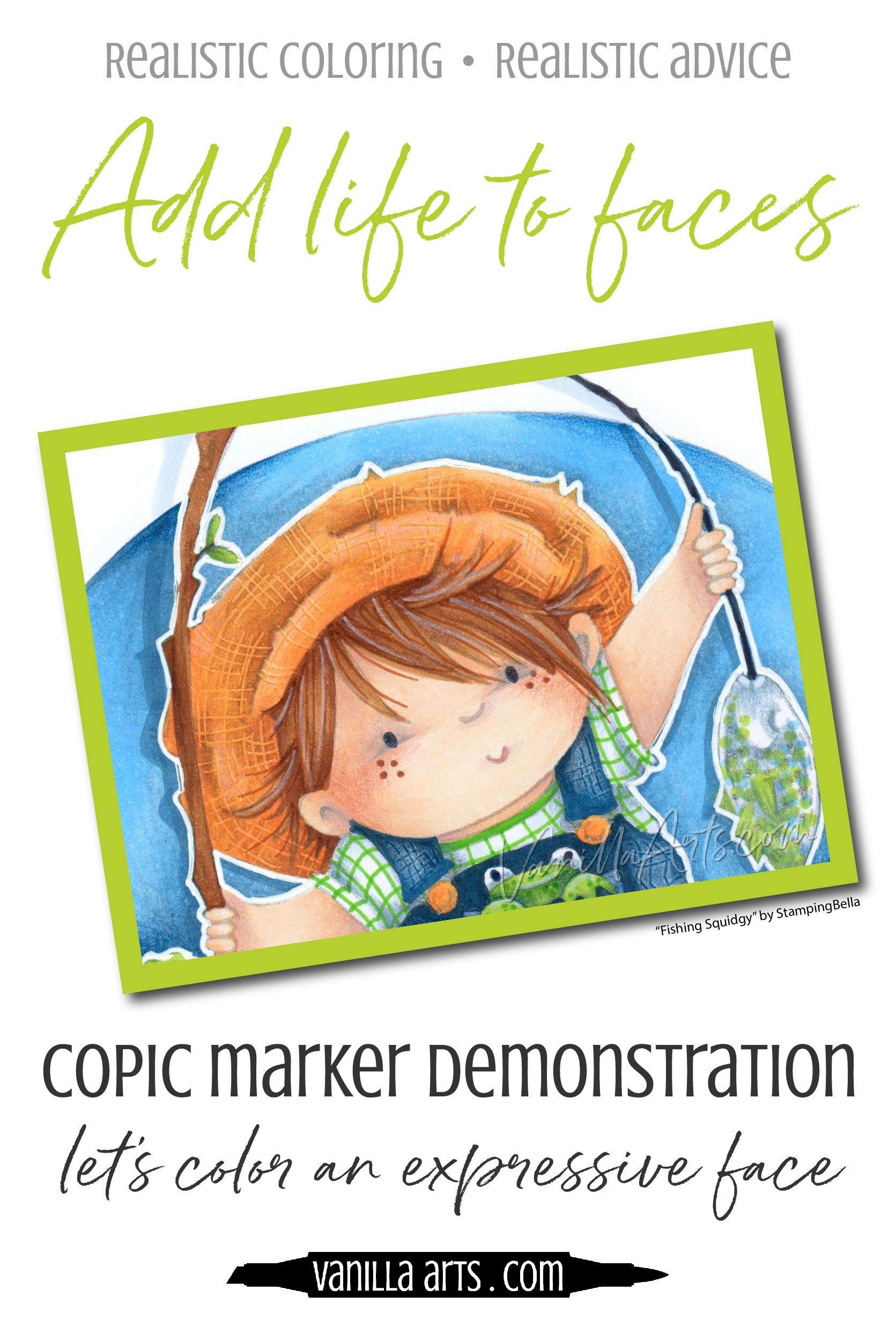 "FREE Copic Marker demonstration video. Tips for coloring easy expressive faces that really smile! Project uses the cute little boy from StampingBella's ""Fishing Squidgy"" stamp set. 