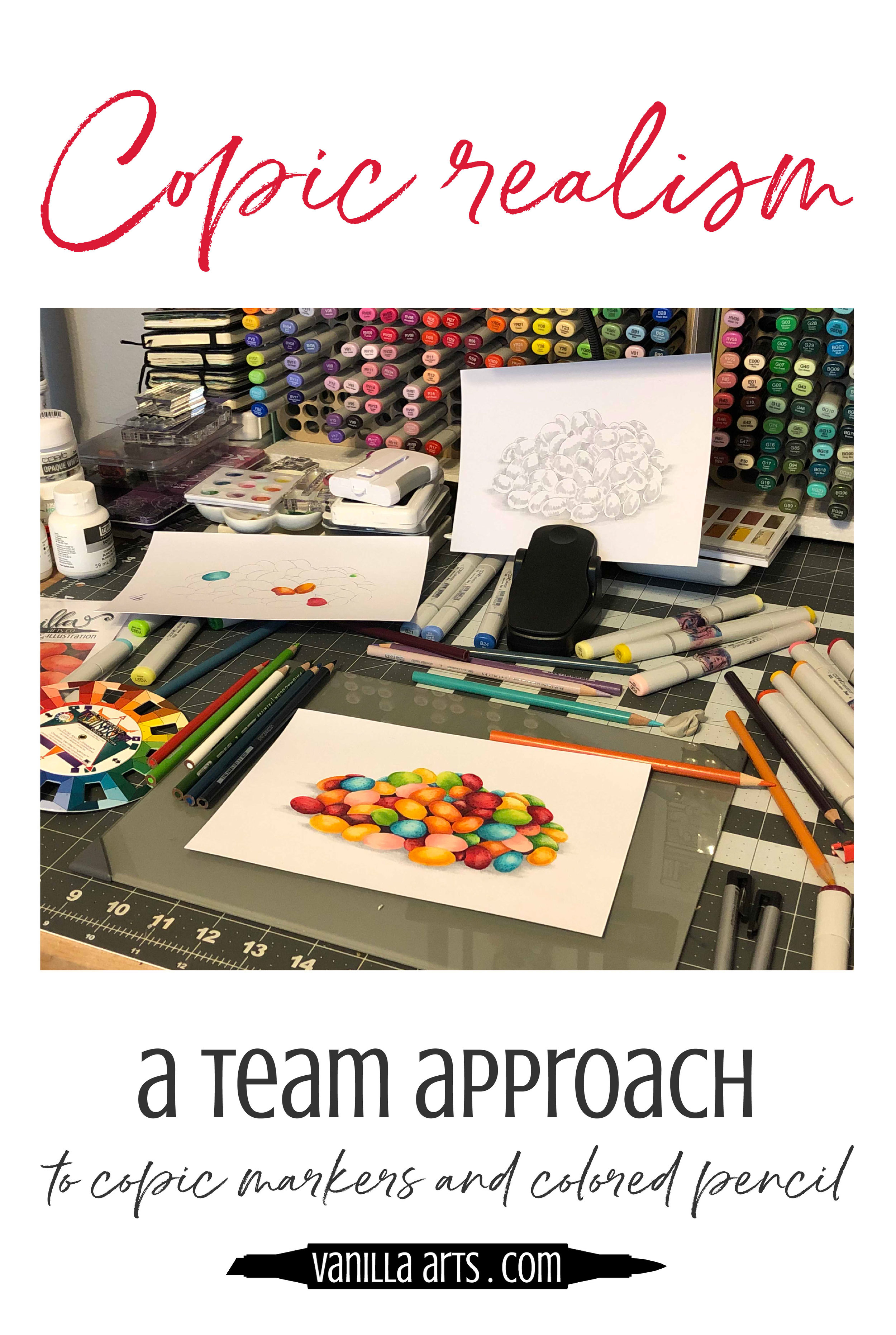 Color realistic Jellybeans with Copic Markers and colored pencils. Frankie and Pam from VanillaArts.com share their tips for coloring without a recipe or class. | VanillaArts.com | #copicmarker #coloredpencil #realisticcoloring