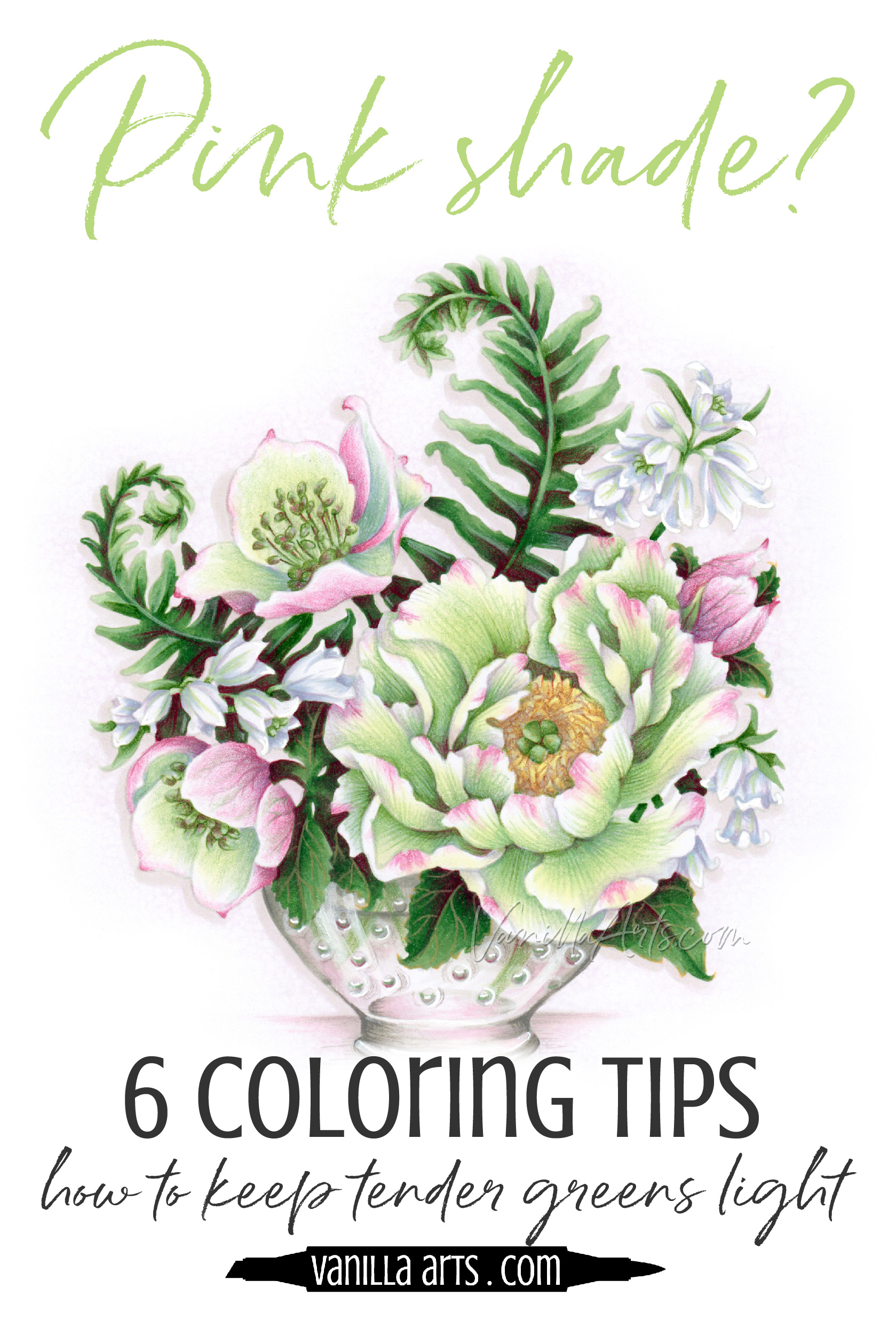 Do your soft green markers get bolder and wilder as you color? 6 tips for controlling green monsters with Copic Markers and colored pencils. Improve your adult coloring. | VanillaArts.com | #copic #adultcoloring #howtocolor