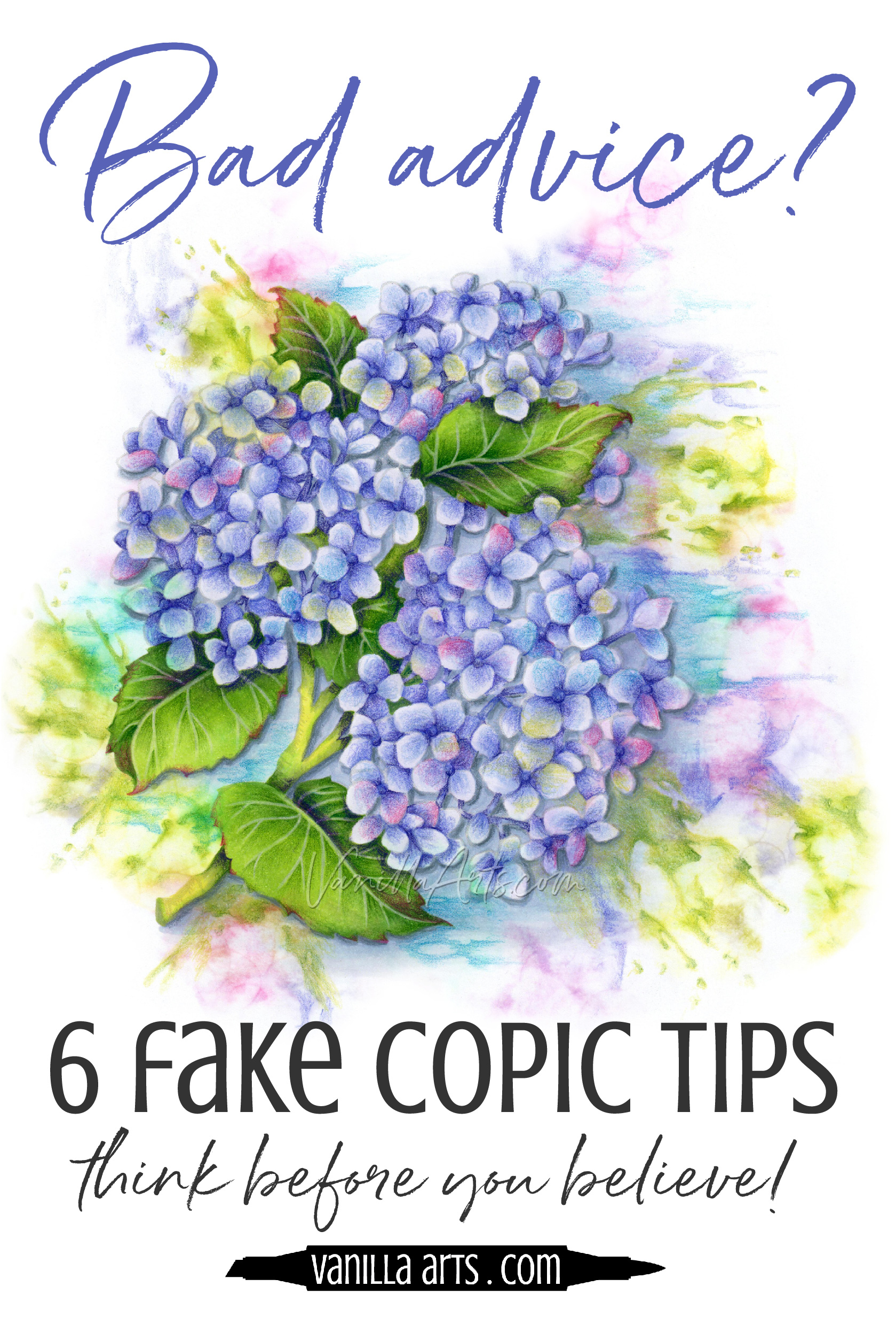 Six myths you believe about Copic Markers and they're all wrong! Take the cap off? Squeaky markers? Fake tips make coloring harder than it has to be!. | VanillaArts.com | #copicmarker #realisticcoloring #howtocolor