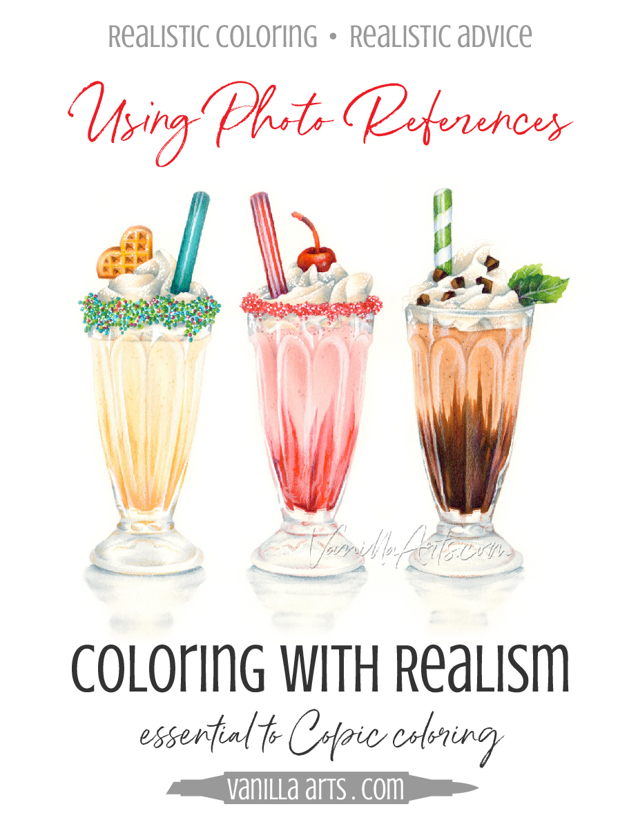 Coloring with Realism using Photo References | VanillaArts.com | #adultcoloring #realisticcoloring #Copic