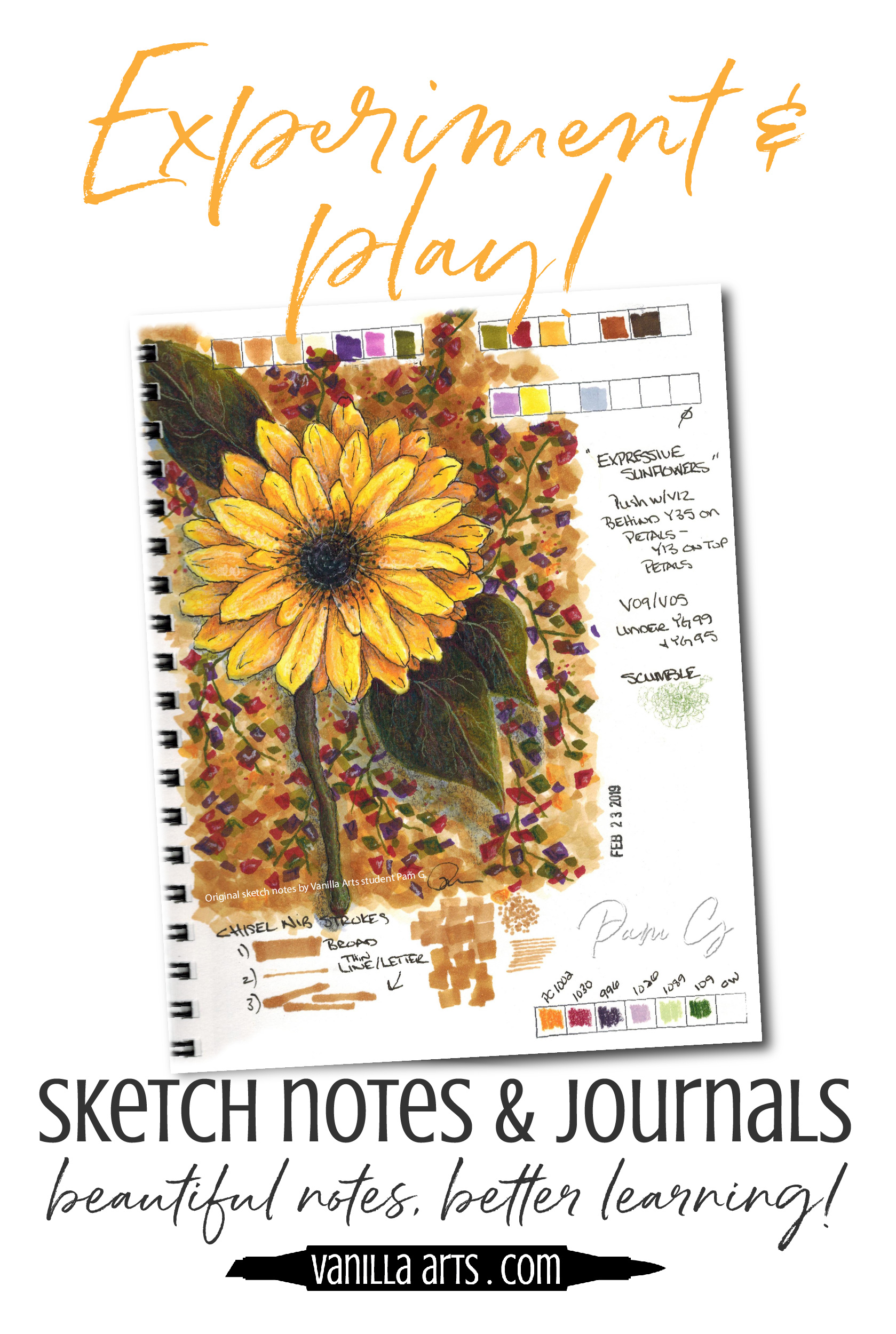 Do you want to start a daily art journaling practice? Doodle artist Pam shares her tips for mixed media and Copic Marker experiments. Take artistic notes and make original art! | VanillaArts.com | #artjournal #copicmarker #sketchjournal