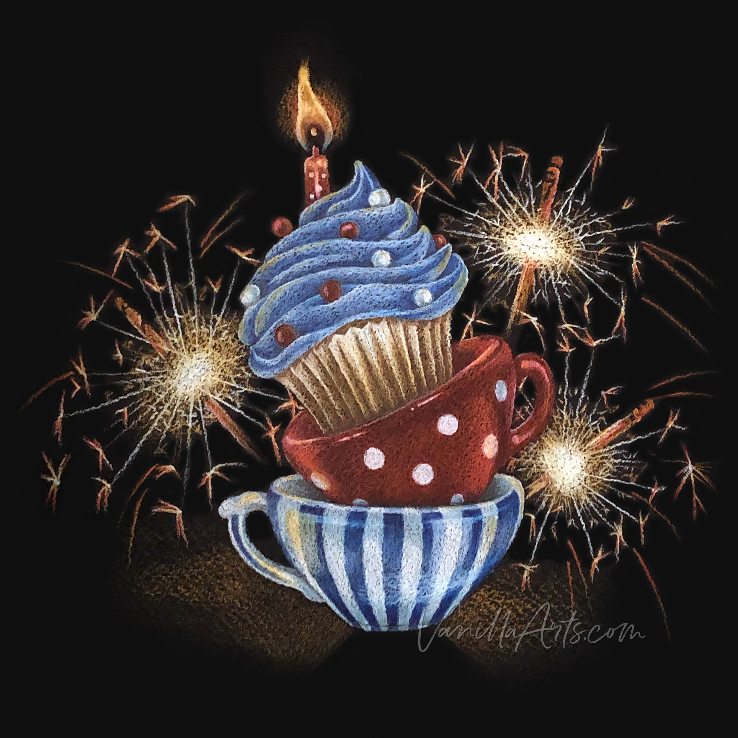 """Cupcake Blast"" colored pencil lesson by VanillaArts.com using Power Poppy's ""Cuppa Cupcake"""