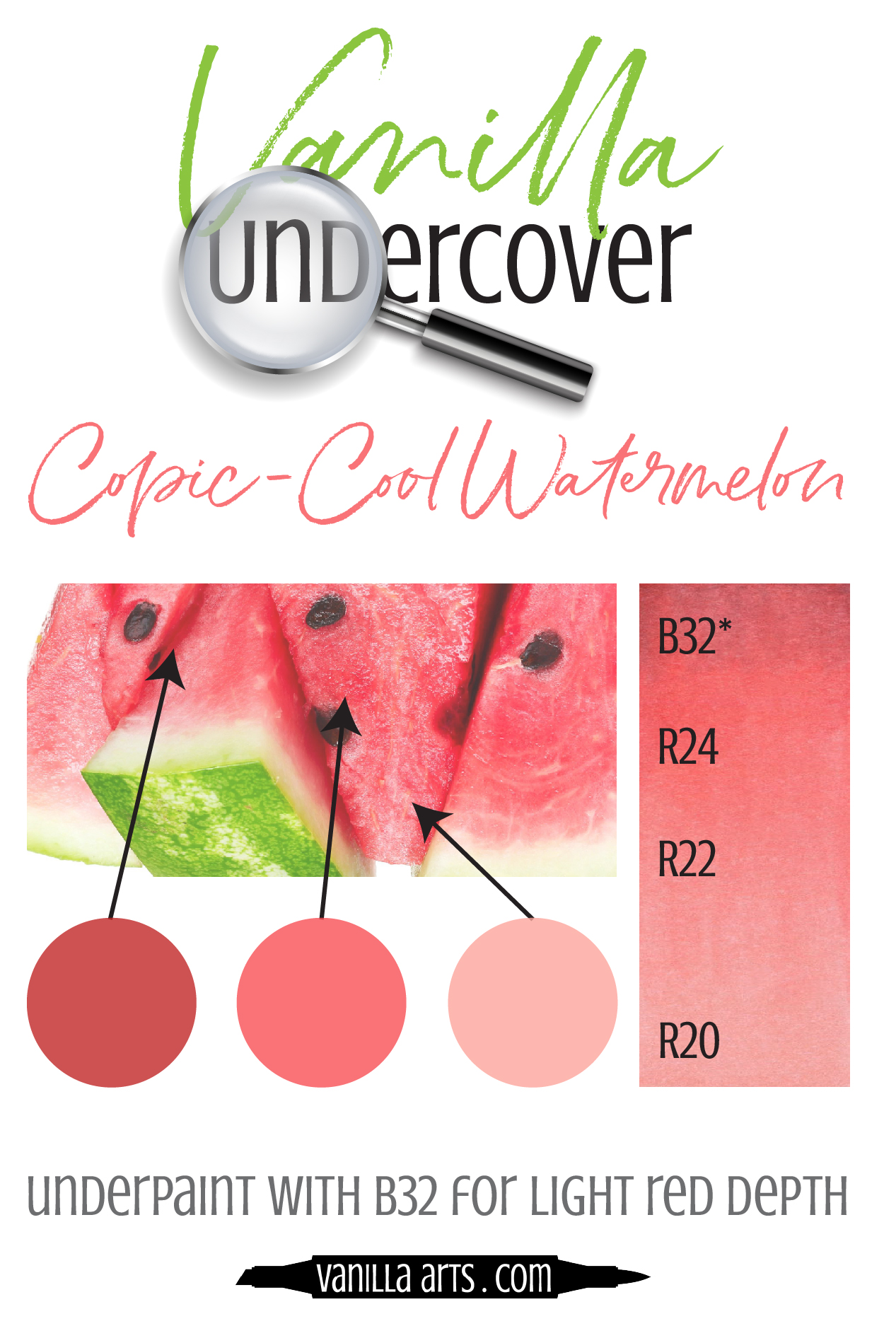 Add dimension and realism by underpainting with Copic Markers! Use B32 underneath your R's (Red) blending combination to capture the look of Cool Watermelon. |  VanillaArts.com  | #copicmarker #realisticcoloring #underpainting