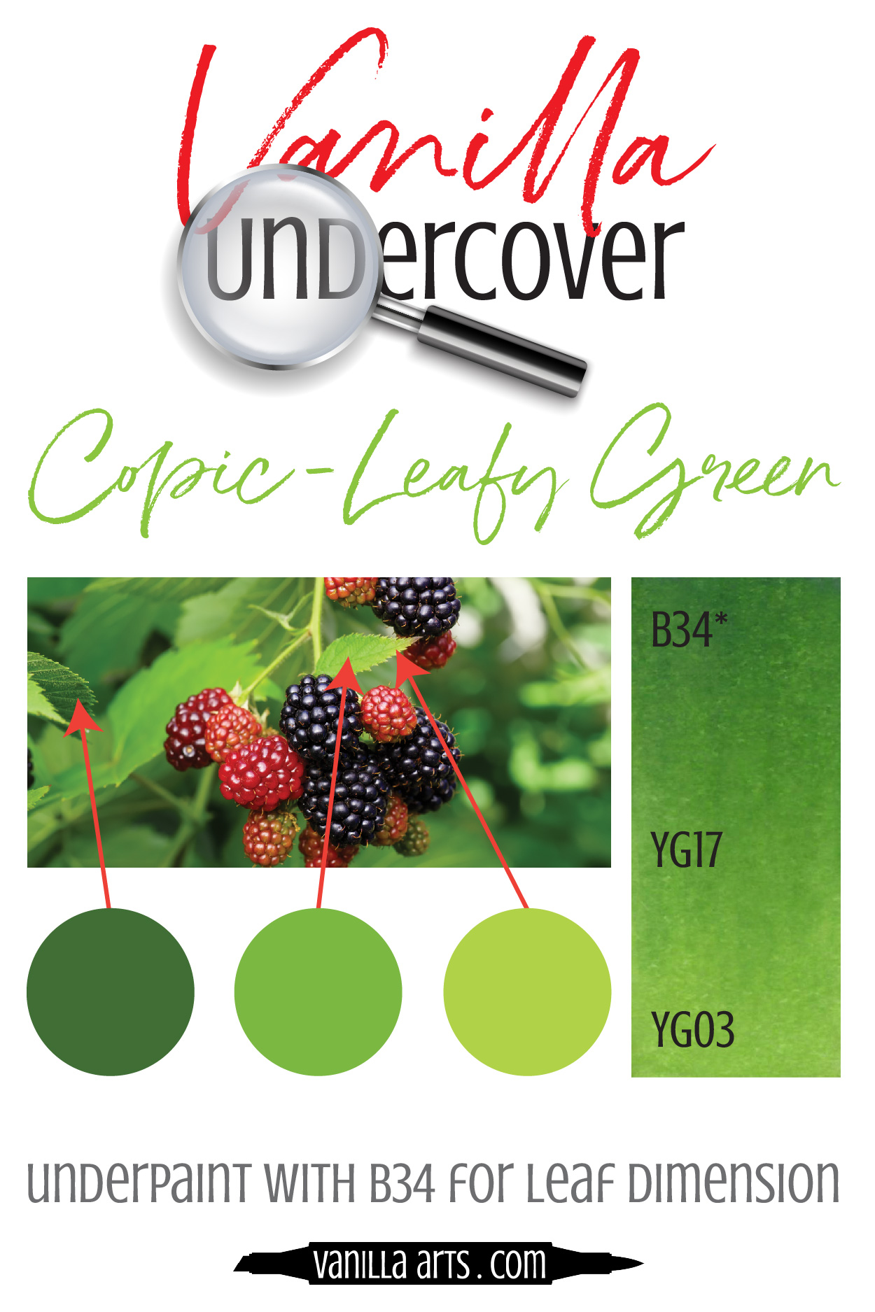 Vanilla Undercover swatches for realistic coloring with Copic Markers | VanillaArts.com| #realism #copic #howtocolor