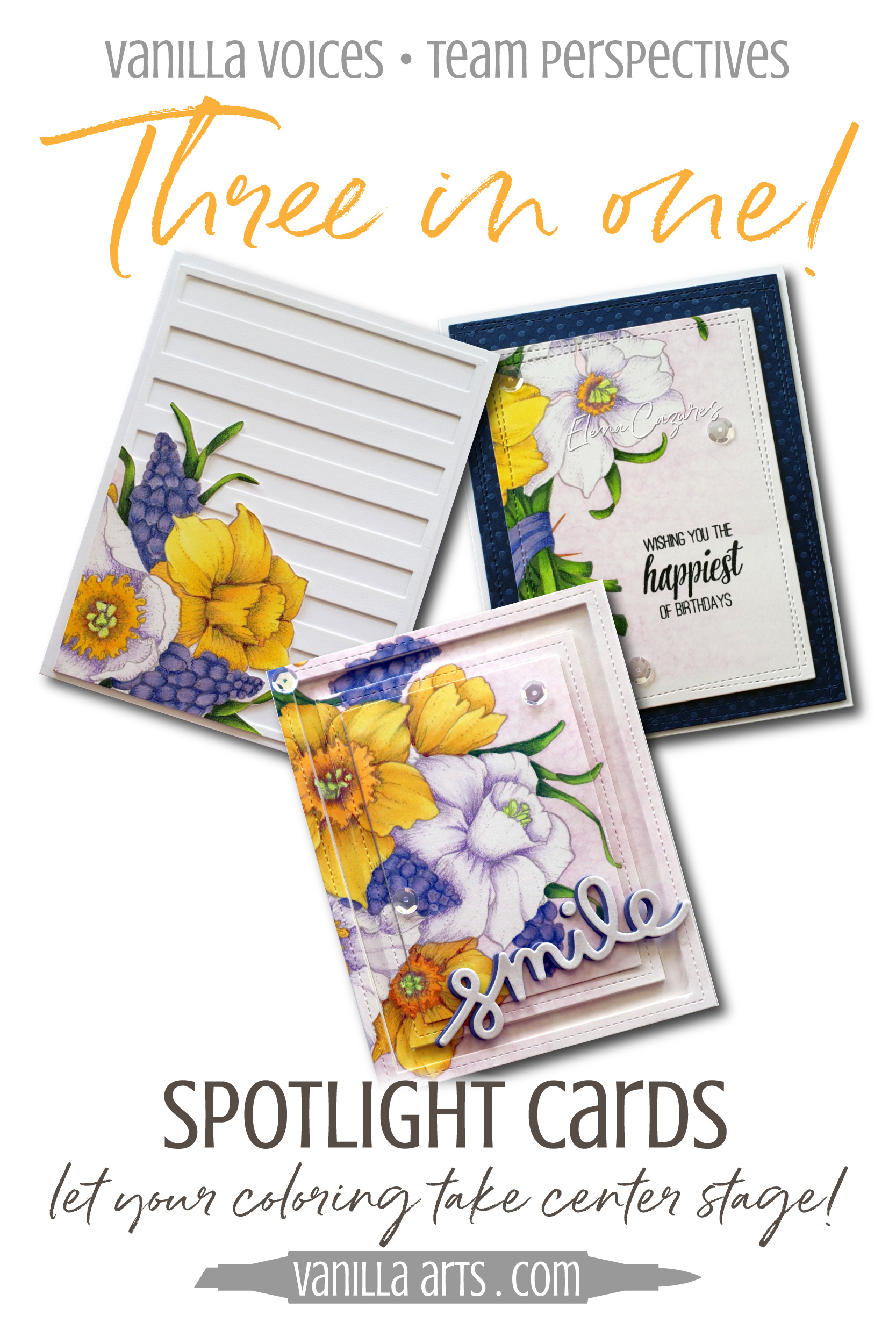 Learn to make cards that do not steal the spotlight from your amazing coloring. Perfect for realistic coloring projects using Copic Markers or colored pencils. Featuring Elena Cazares of Crafts for Paws.| VanillaArts.com | #copicmarker #realisticcoloring #cardmaking
