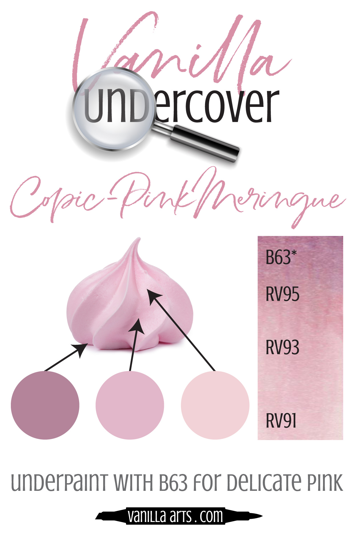 Add dimension and realism by underpainting with Copic Markers! Use B63 underneath your RV's (Red-Violet) blending combination to capture the look of light, frothy Pink Merengue. |  VanillaArts.com  | #copicmarker #realisticcoloring #underpainting