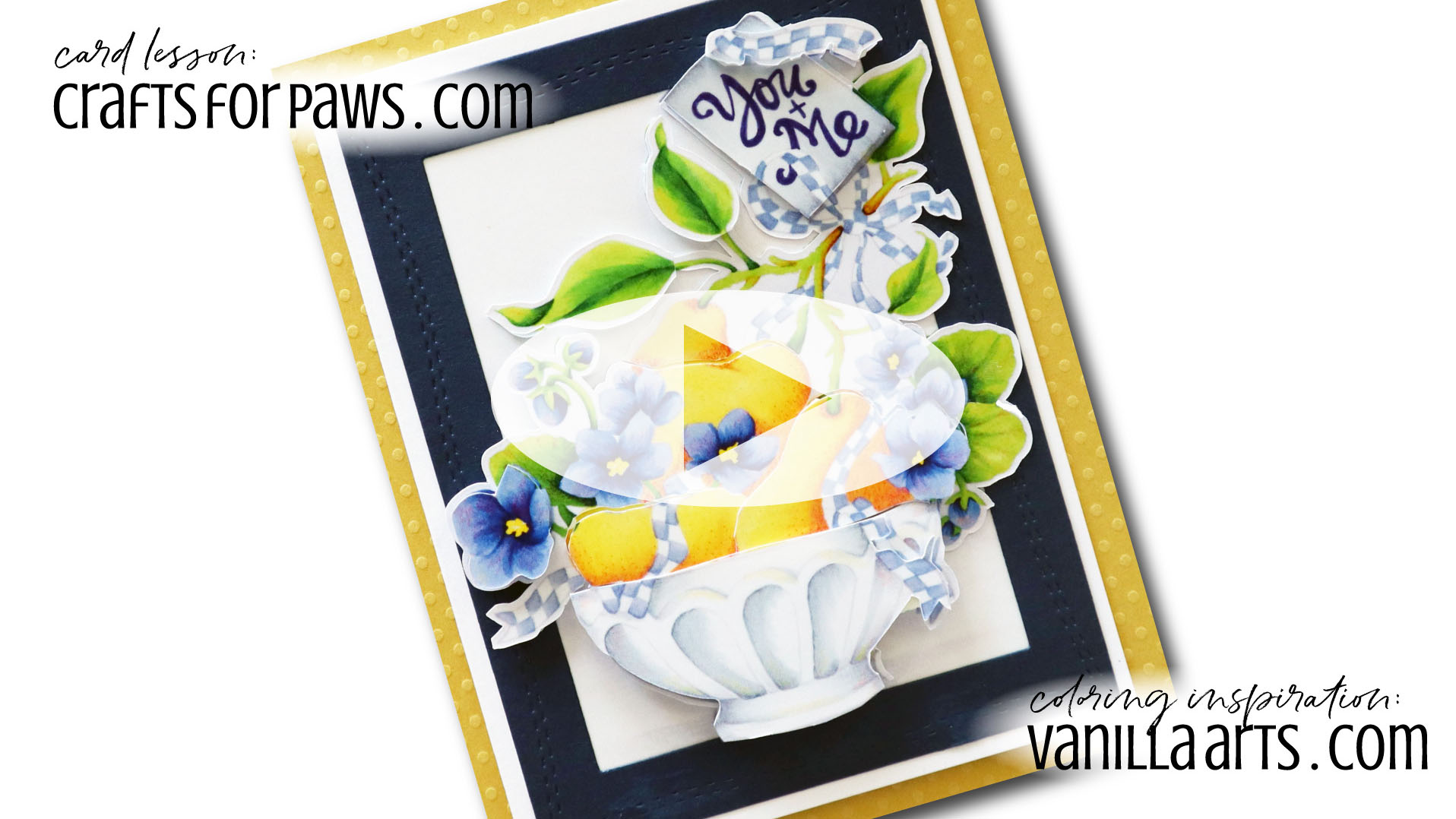 """Cut Tulips"" Spotlight Card. Learn to make cards that do not steal the spotlight from your amazing coloring. Perfect for realistic coloring projects using Copic Markers or colored pencils. Featuring Elena Cazares of Crafts for Paws.
