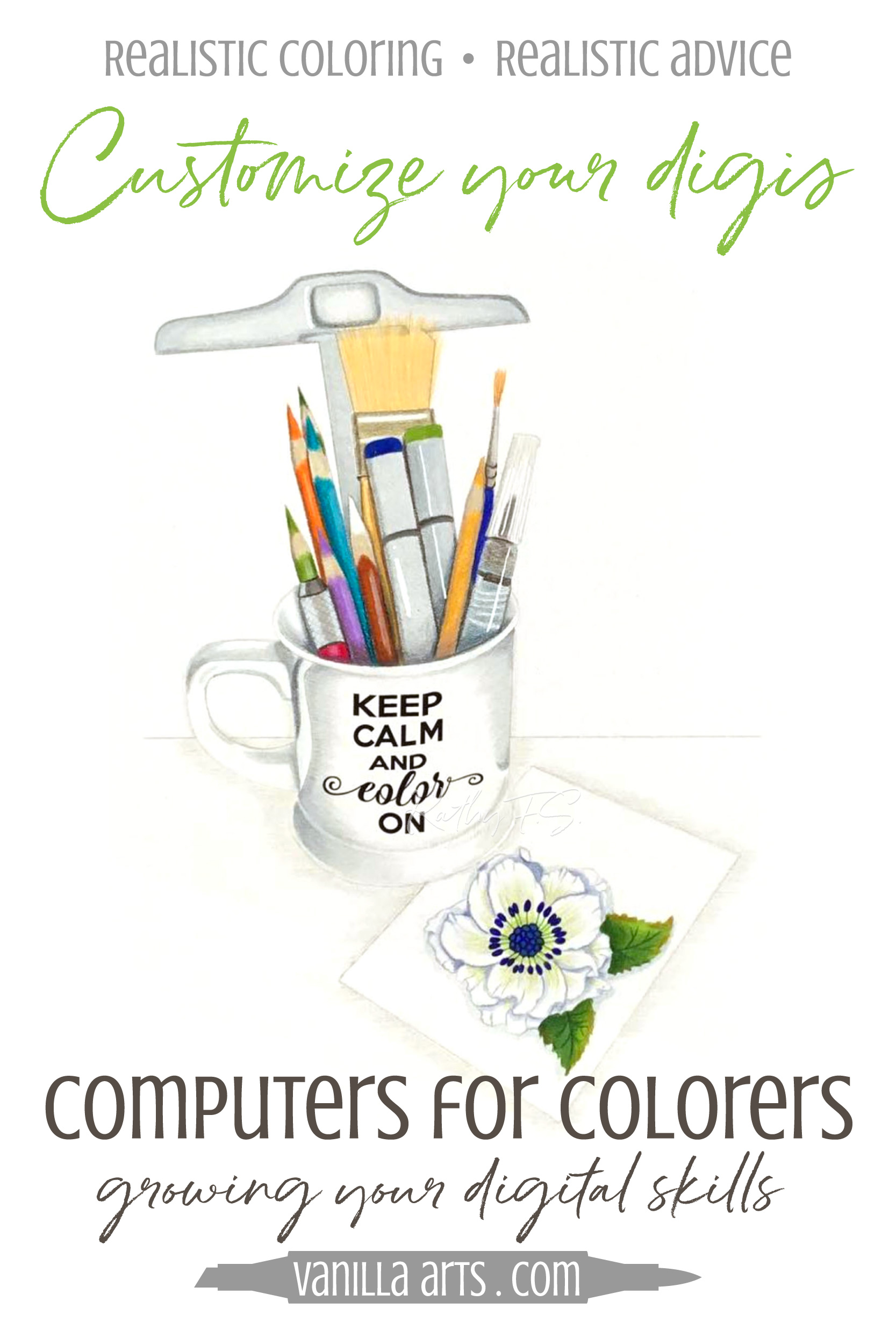 Bored with the same old coloring books or rubber stamps? Do you dream of coloring unique and custom projects with Copic Markers, colored pencils, or watercolor? Let's expand your computer skills to create amazing digital stamp projects. Computers for Colorers teaches you step by step! | VanillaArts.com | #digitalstamp #howtocolor #copicmarker