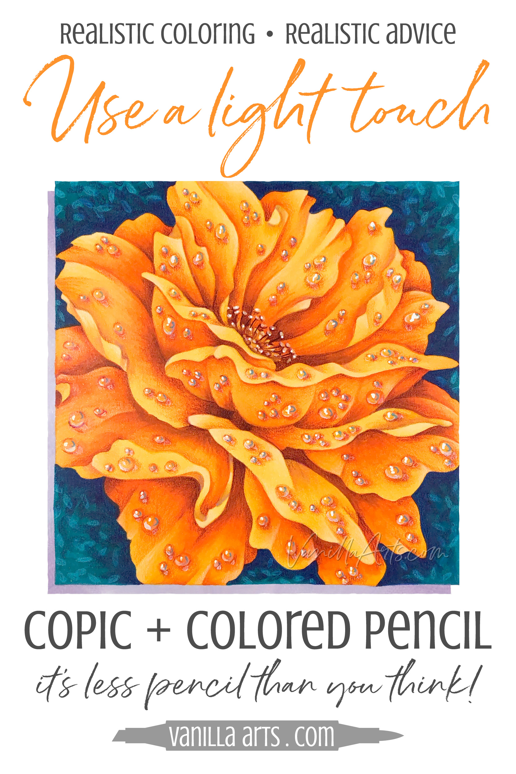 What's the secret to mixing Copic Markers and colored pencils? Learn the secret to a balanced approach to mixed media, to improve your depth, dimension, and artistry. | VanillaArts.com | #copicmarker #realisticcoloring #howtocolor