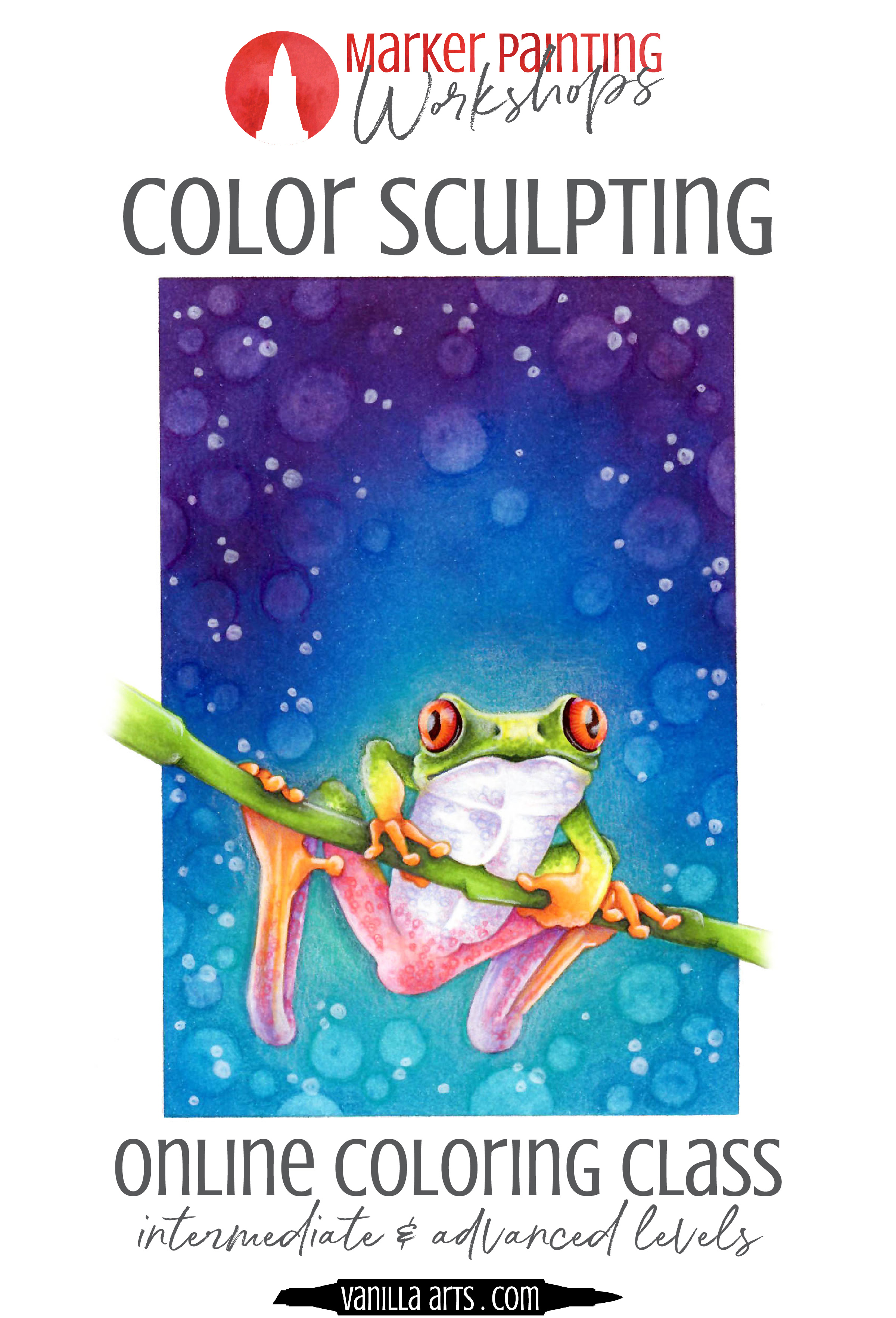 """Tree Frog a Marker Painting Workshops at VanillaArts.com. Learn to add realism and artistry to your Copic Marker or colored pencil coloring projects. """"Tree Frog"""" teaches the color sculpting process to maximize realism.   MarkerPainting.com  #copicmarker #coloredpencil #coloring #howtocolor #realisticcoloring"""