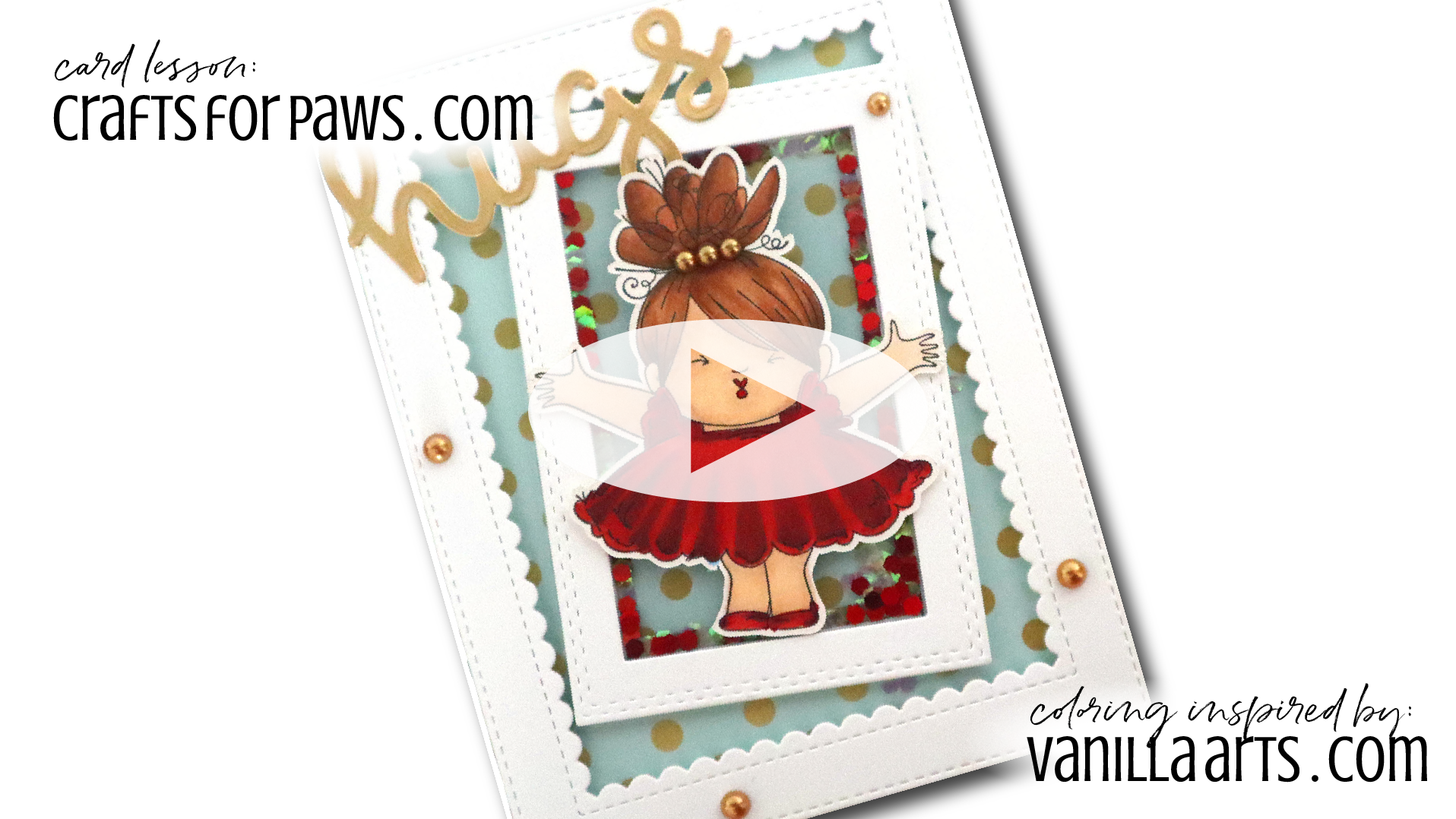 """Hugs & Kisses"" Spotlight Card. Learn to make cards that do not steal the spotlight from your amazing coloring. Perfect for realistic coloring projects using Copic Markers or colored pencils. Featuring Elena Cazares of Crafts for Paws.