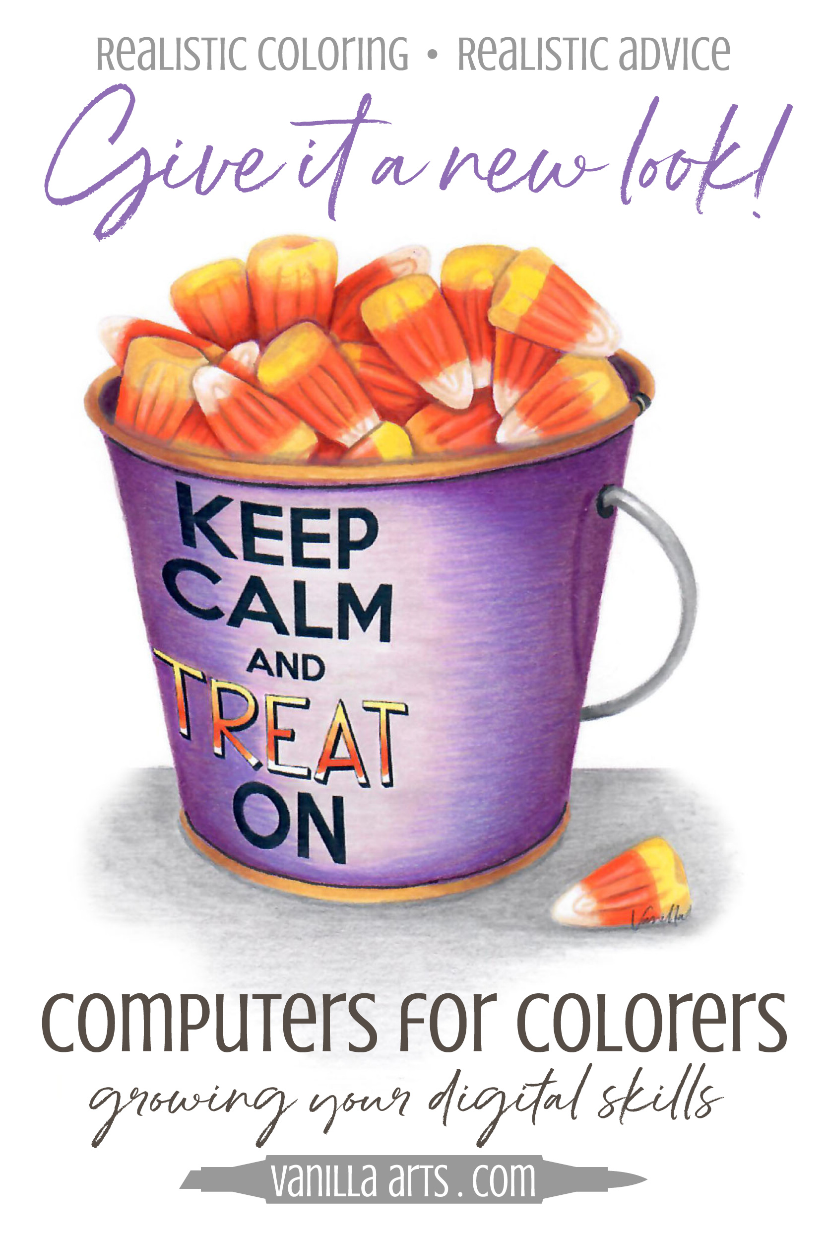 Computers for Colorers. Learn basic digital stamp skills to create the kind of stamps you want to color! Make stamps easier for use with Copic Marker, colored pencil, or watercolor with our resident digi stamp expert, Kathy. | VanillaArts.com | #copicmarker #coloredpencil #digitalstamp