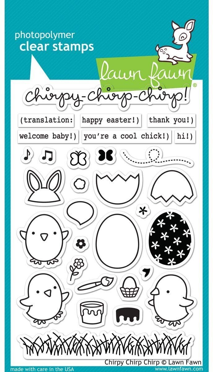 April 2020:  BEGINNER LEVEL. Play Where's Waldo with a beginner lesson on creating depth using Lawn Fawn's  Chirpy-Chirp-Chirp  set.