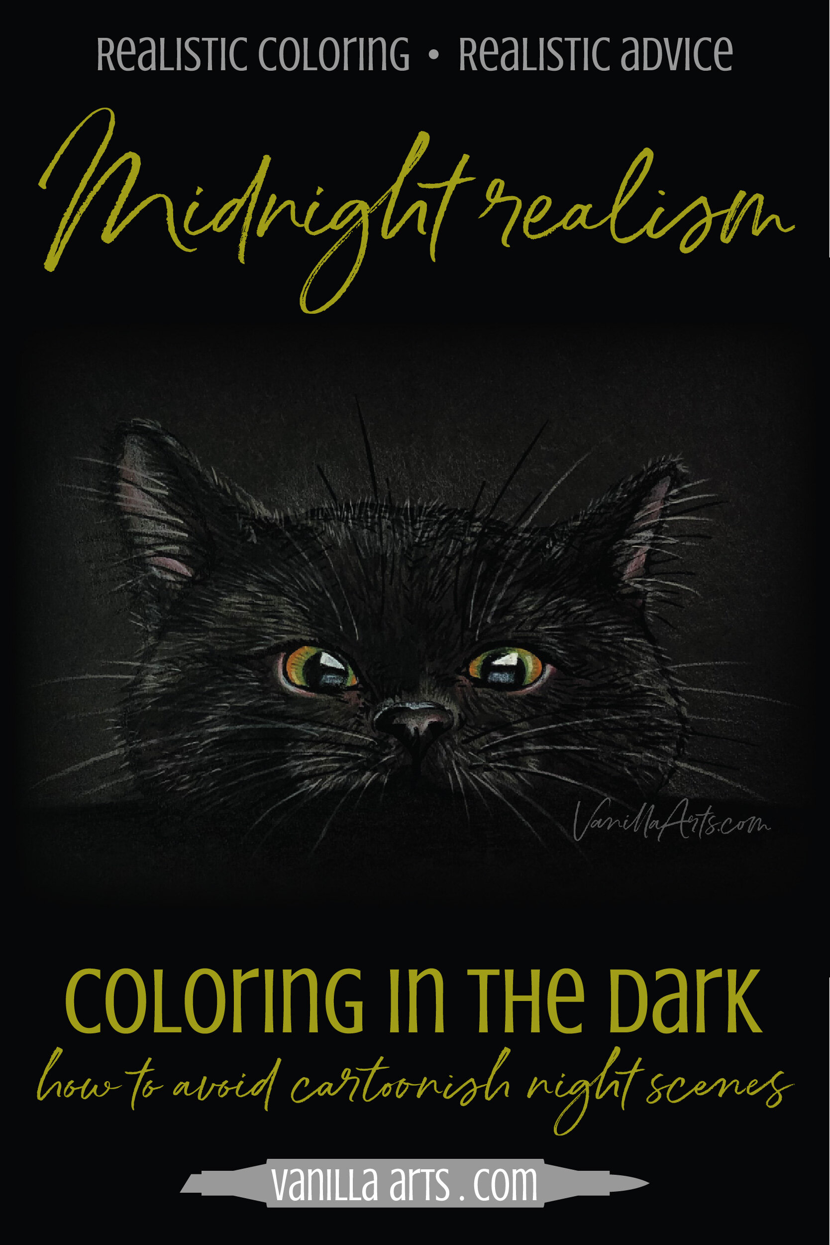 What's the secret to coloring realistic night time scenes that don't look childish or cartoony? Spooky coloring and cheerful Christmas glows can both be improved when you pay attention to the actual color of midnight. Perfect for Copic Markers or colored pencils.   VanillaArts.com   #copicmarker #realisticcoloring #howtocolor