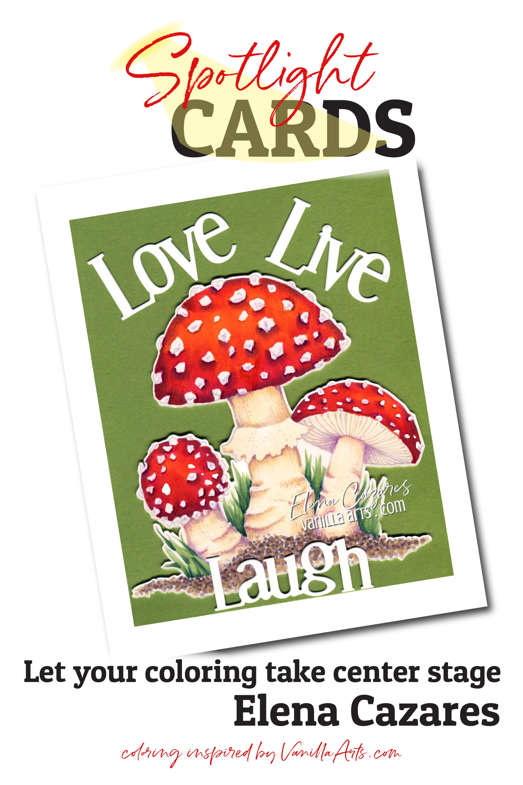 Learn to make cards that do not steal the spotlight from your amazing coloring. Perfect for realistic coloring projects using Copic Markers or colored pencils. Featuring Elena Cazares of Crafts for Paws.  VanillaArts.com   #copicmarker #realisticcoloring #cardmaking