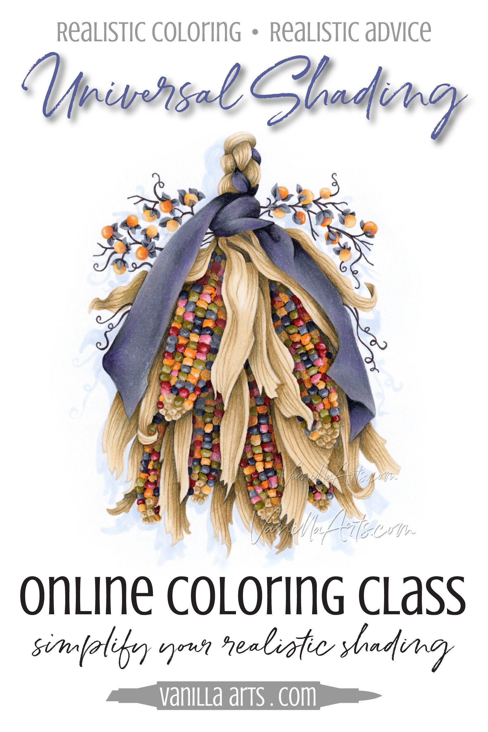 Copic Marker Colored Pencil Shading Complex Objects Online Coloring Lesson Vanilla Arts Co