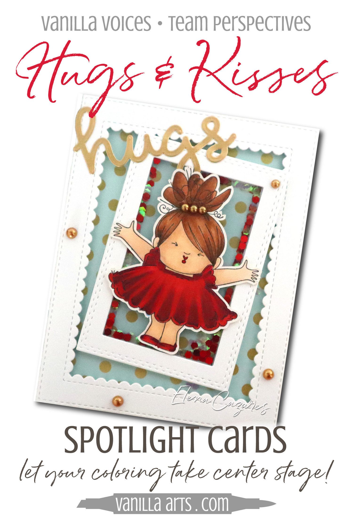 """""""Hugs & Kisses"""" Spotlight Card. Learn to make cards that do not steal the spotlight from your amazing coloring. Perfect for realistic coloring projects using Copic Markers or colored pencils. Featuring Elena Cazares of Crafts for Paws.