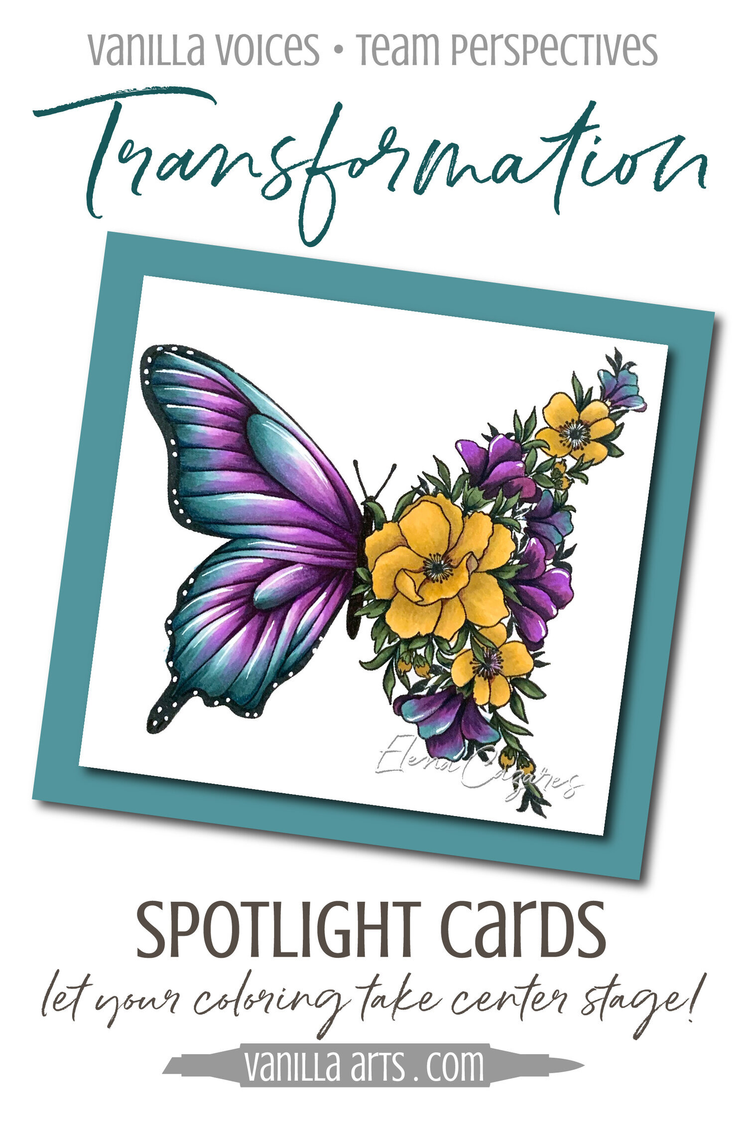 """""""Transformation"""" Spotlight Card. Learn to make cards that do not steal the spotlight from your amazing coloring. Perfect for realistic coloring projects using Copic Markers or colored pencils. Featuring Elena Cazares of Crafts for Paws.