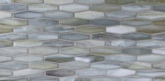 Handcrafted semi-transparent glass mosaic bathroom accent, style varies by home