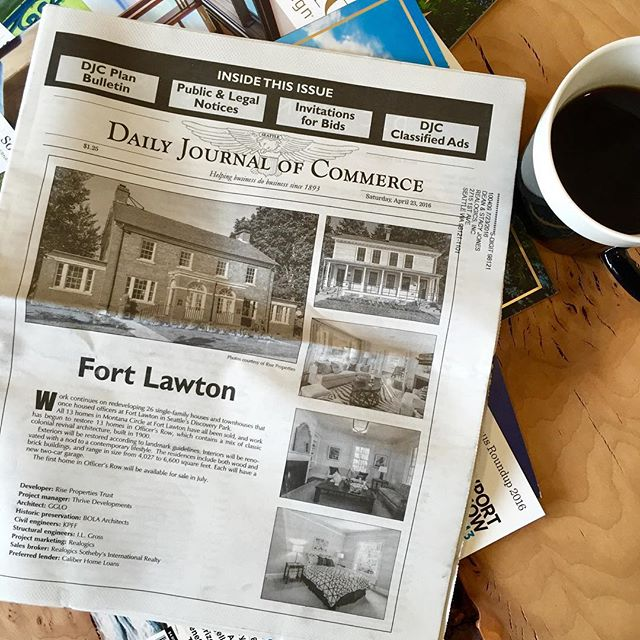 Montana Circle sold out and Officer's Row on the way...the Homes at Fort Lawton featured in this weekend's Daily Journal of Commerce! #djc #HomesAtFortLawton #seattle #historichomes