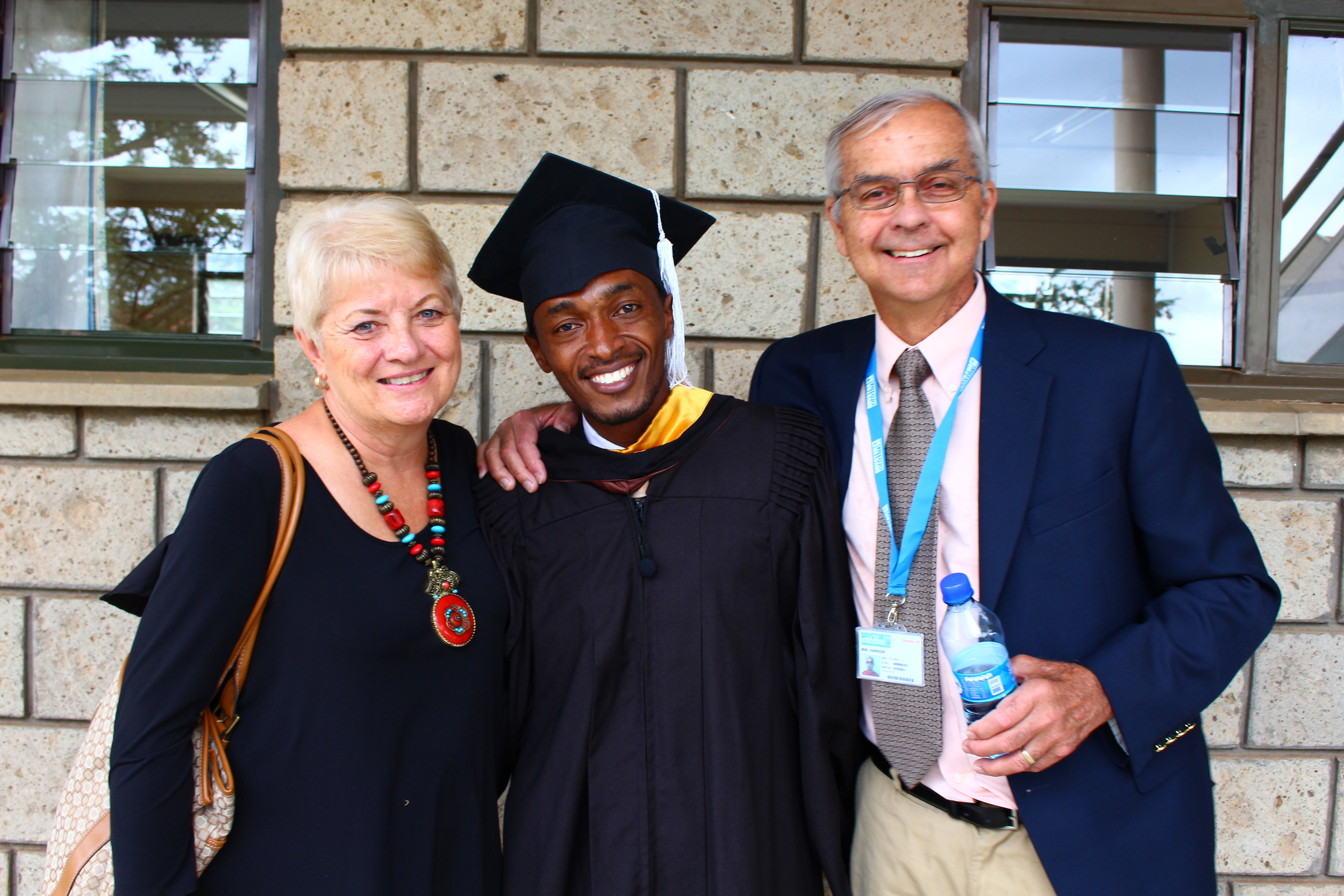 Kathy and her husband, Bob, with their good friend, and Afrizo member, Peter.
