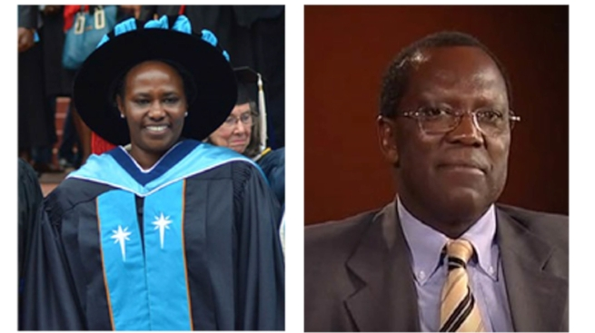 Chancellor Mary Murimi (left) was inaugurated at the 2016 graduation ceremony. Dr. George Krhoda serves as the Daystar University Council Chariman.