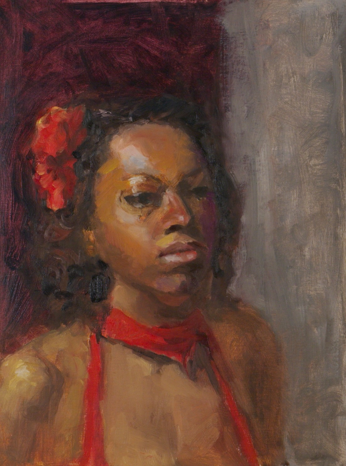 Girl with Red Flower in Her Hair