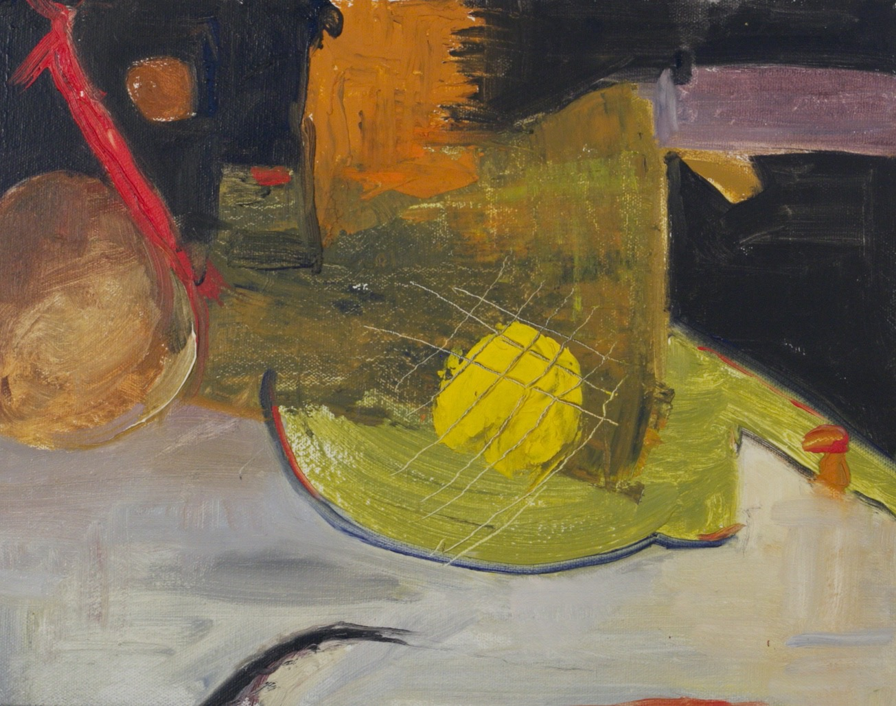 Still Life with Lemon and Red Bar
