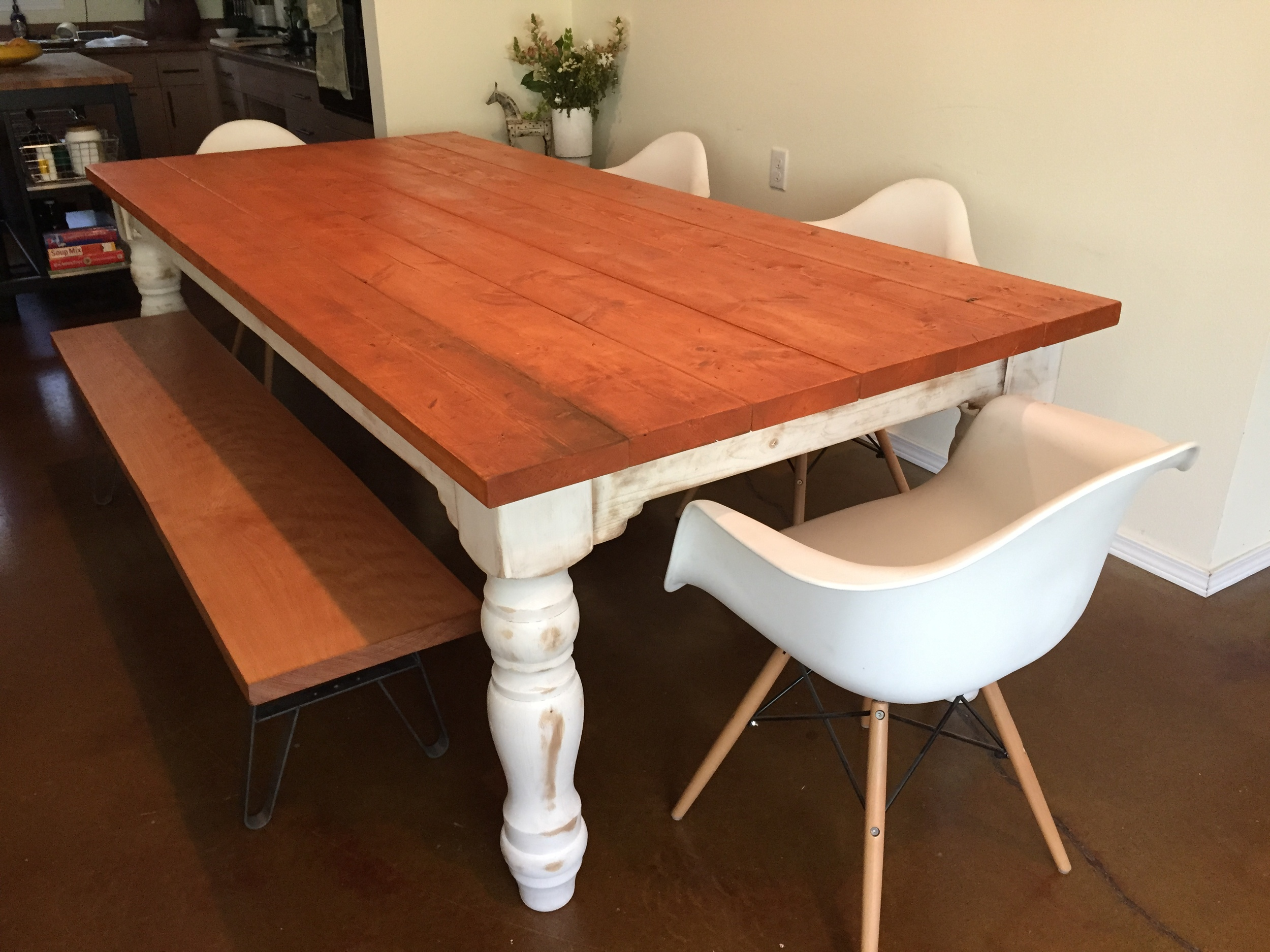 8 Foot Farmhouse Table with Industrial, Beech Bench