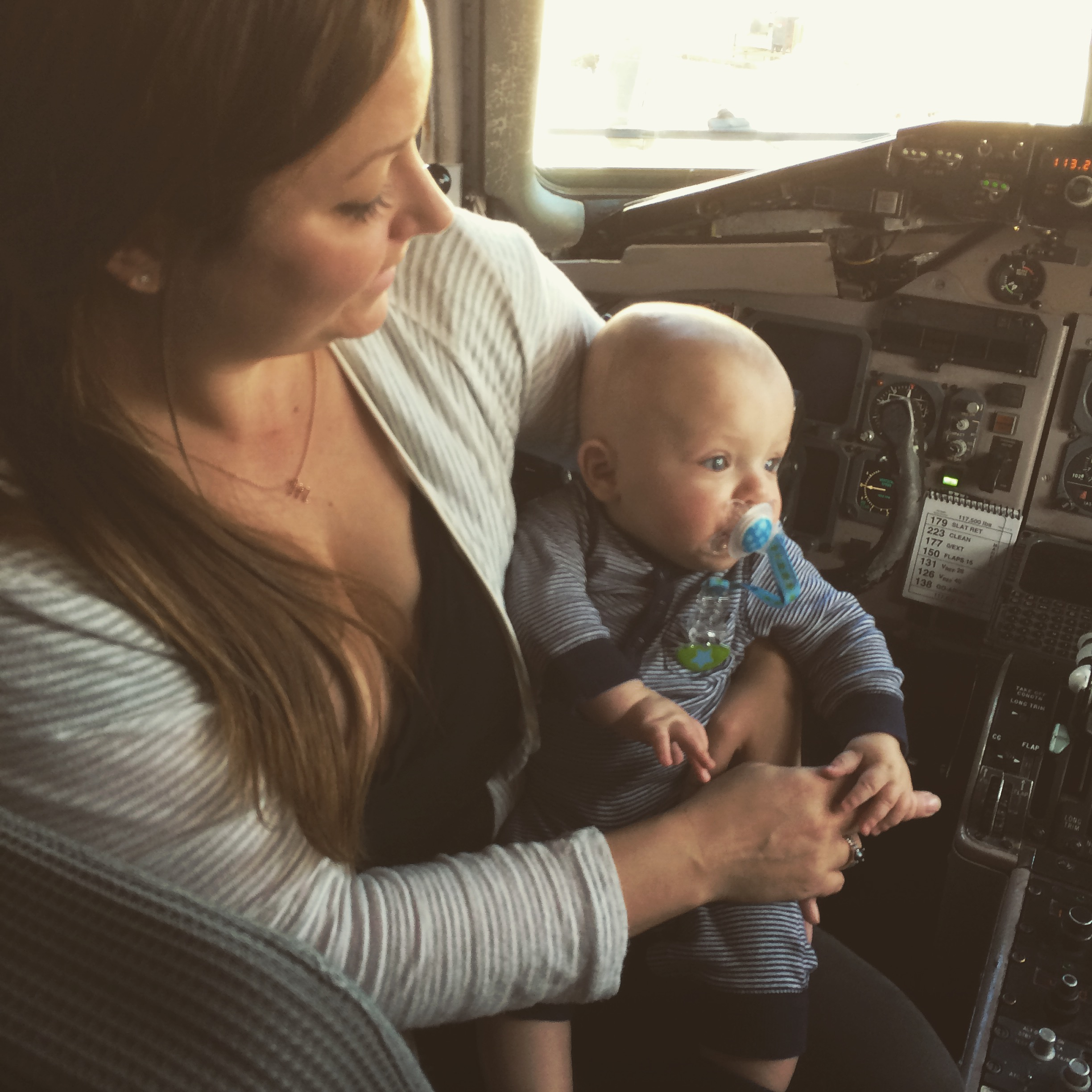 meeting the pilot in the cockpit on his 1st flight...