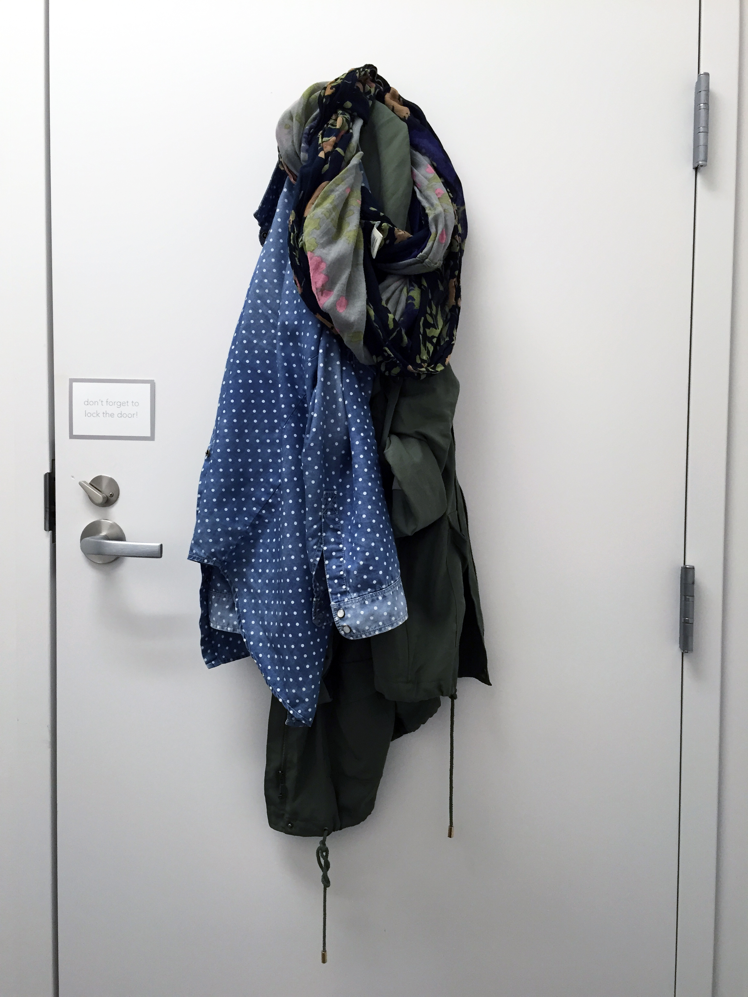 there it is...the top half of everything I am wearing today, hanging on the back of a door in the pumping room...