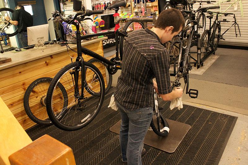 Josie working it at Decorah Bicycles