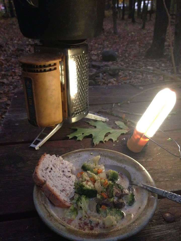 Camp side dinner in Maine