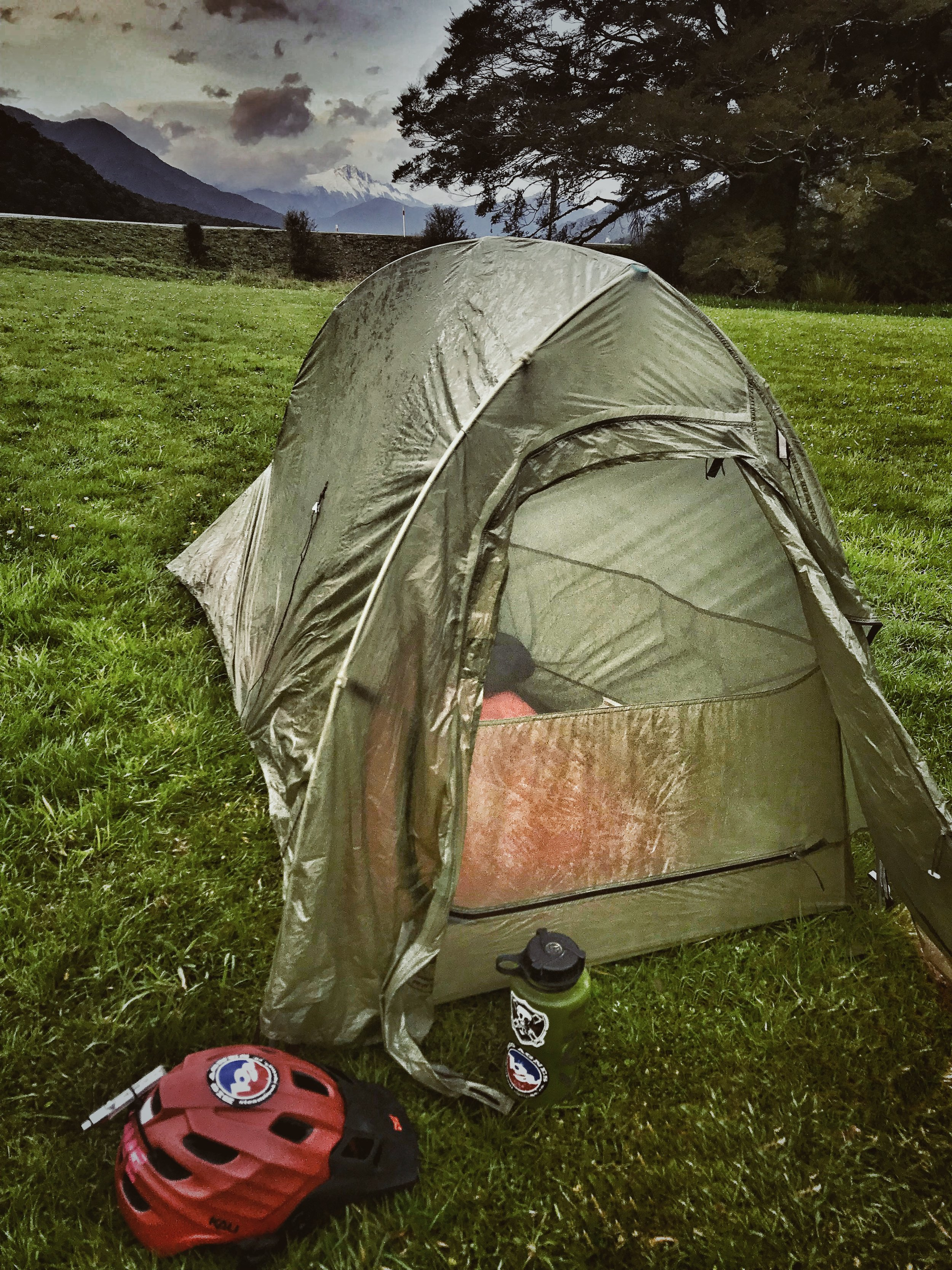 Big Agnes  tent set up for the night with New Zealand Glacier Mountains in the background.