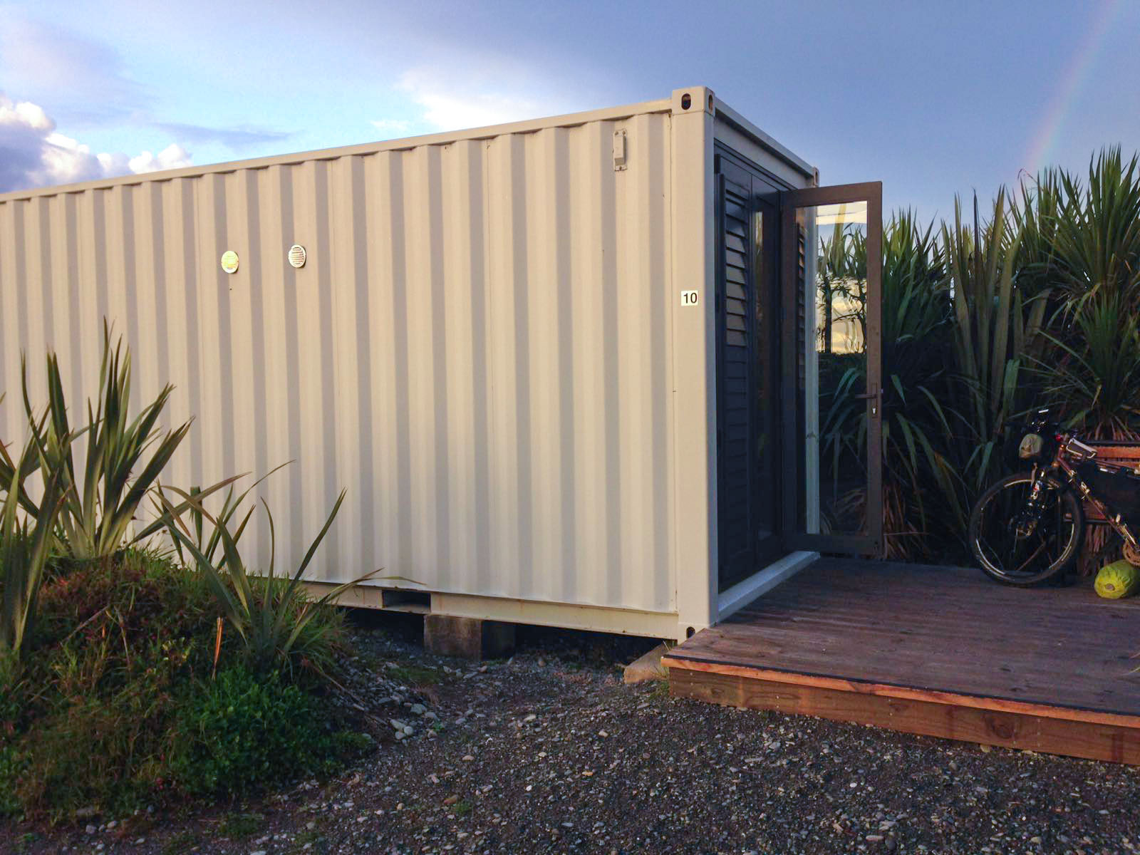 Shipping container outside Ross , New Zealand