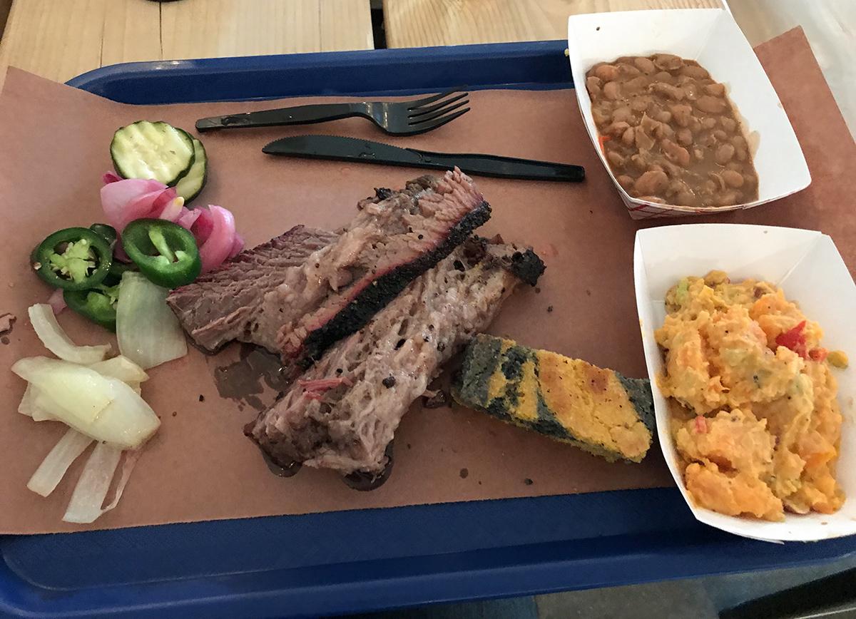 YUUUMMMMMMMM…..homemade brisket, sweat potato salad, pickles, and gluten free cornbread!