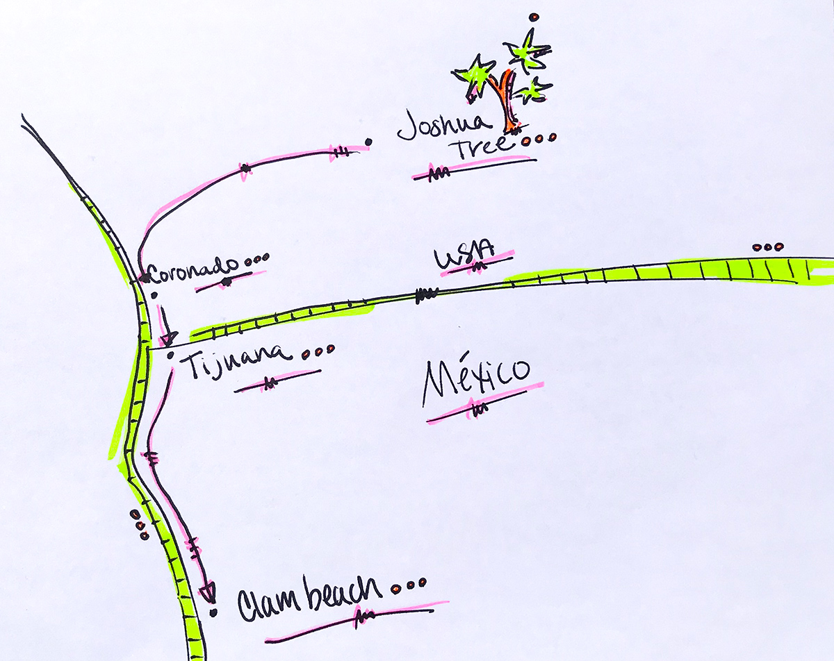 Map route takes us from Joshua Tree to Coronado Beach through the Mexican boarder at Tijuana all the way to Clam Beach!
