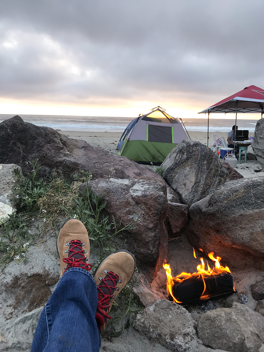Fire on the beach with a glass of Mexican vino tinto, perfecto!
