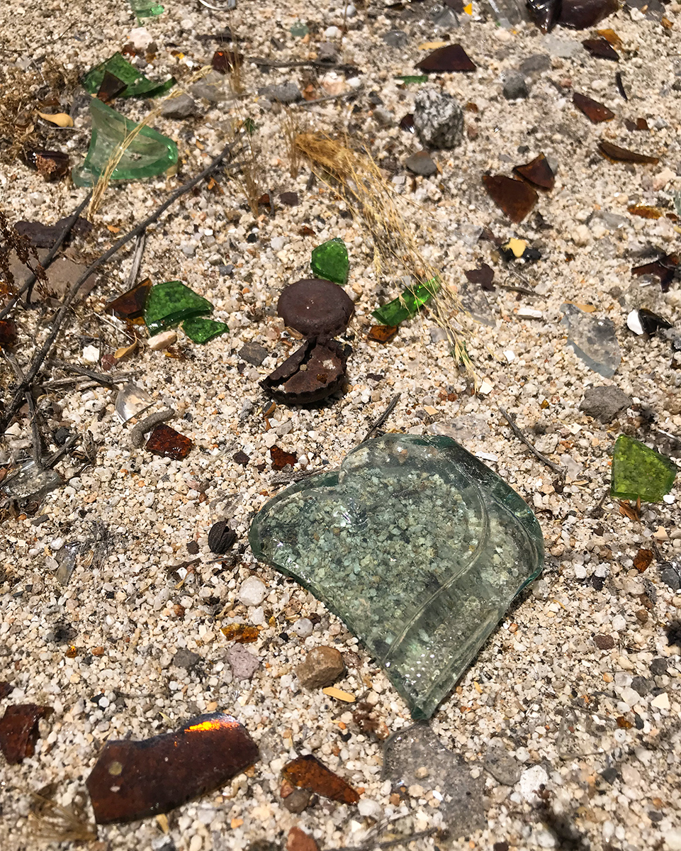 Broken glass heart found along the side of the road in the Baja.