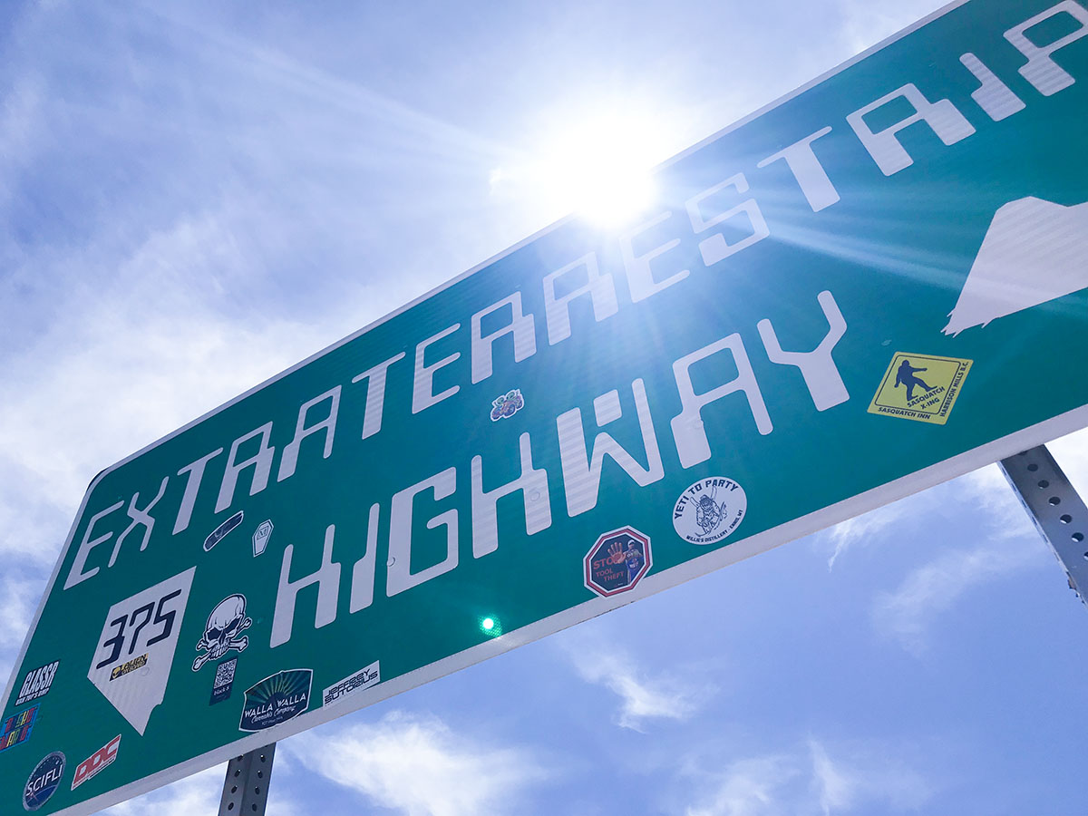 Extraterrestrial Highway sign just outside Rachel, Nevada.