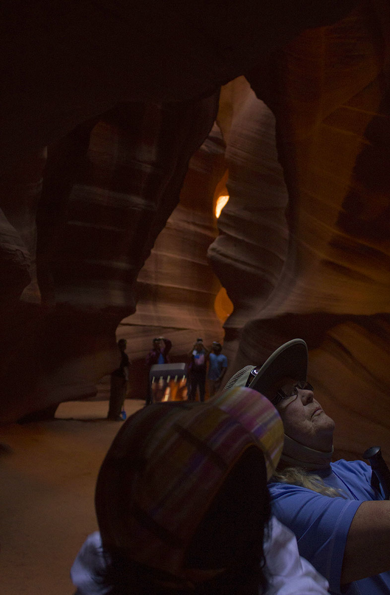 Our tour taking photos inside the epic and massive slot Antelope Canyon.