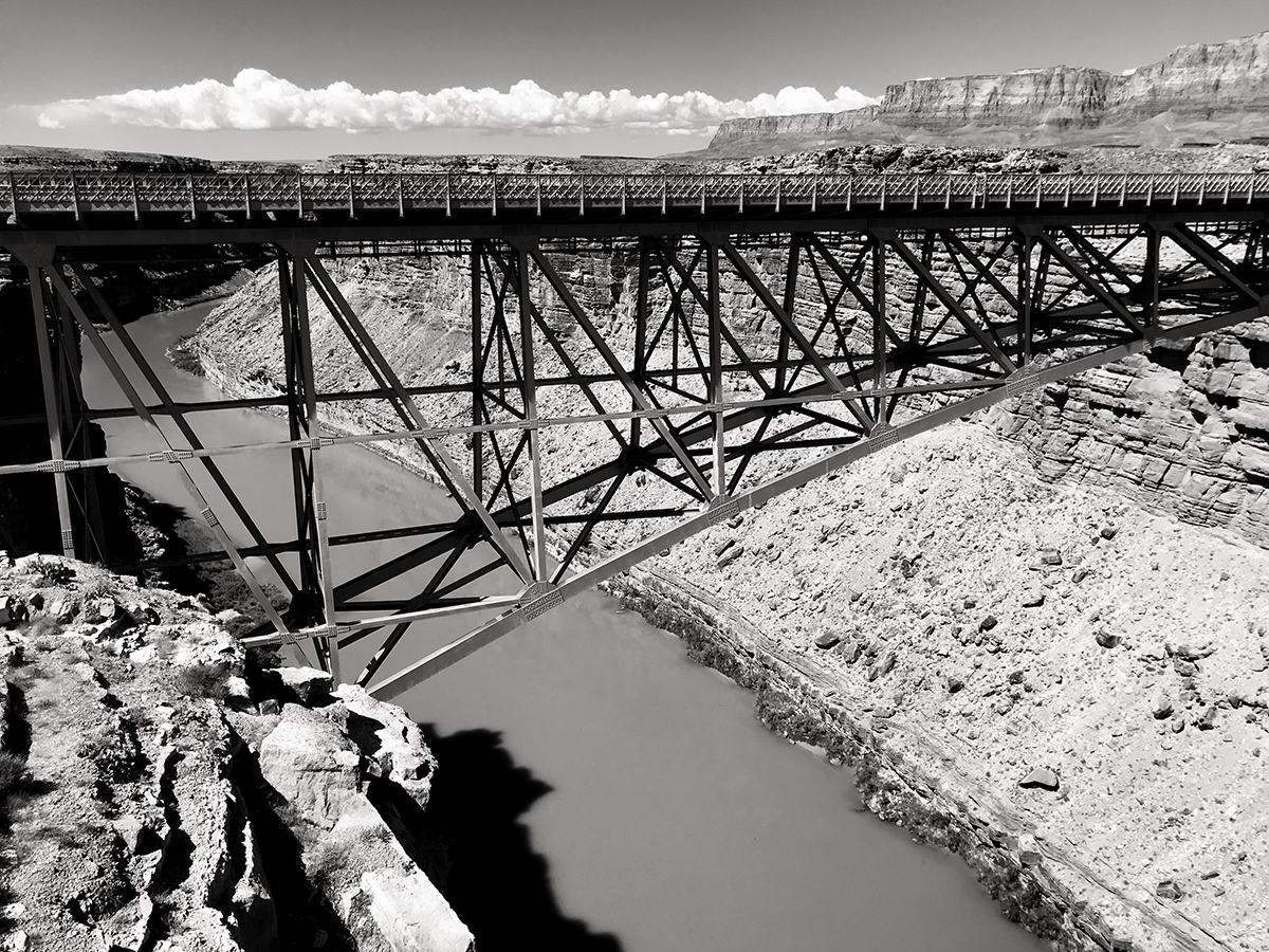 View of the Old Navajo Bridge and the Colorado River.