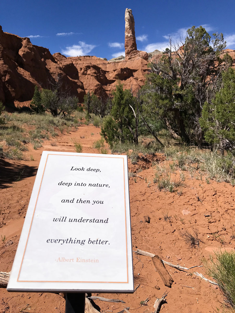 Kodachrome State Park hike with inspirational quotes.