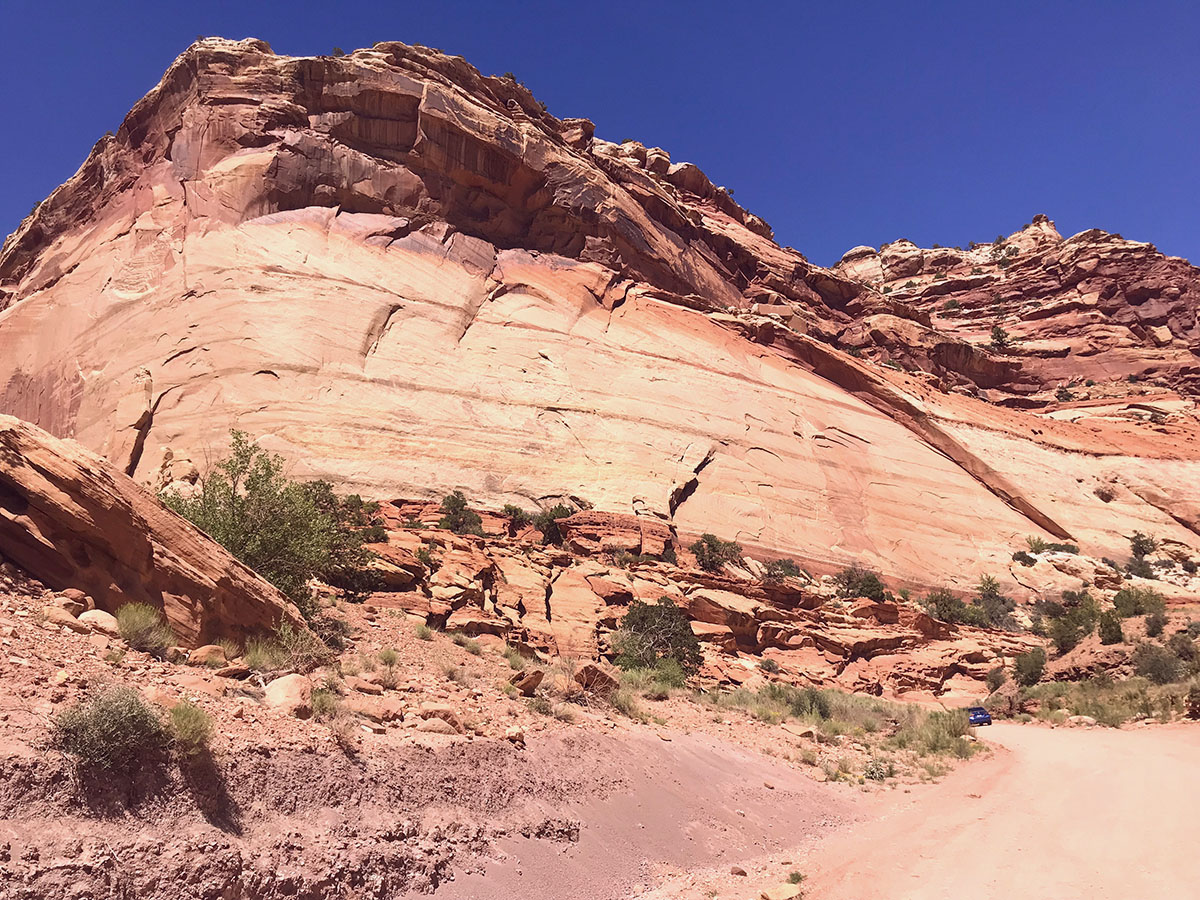 Driving through the wash at Capitol Reef National Park.