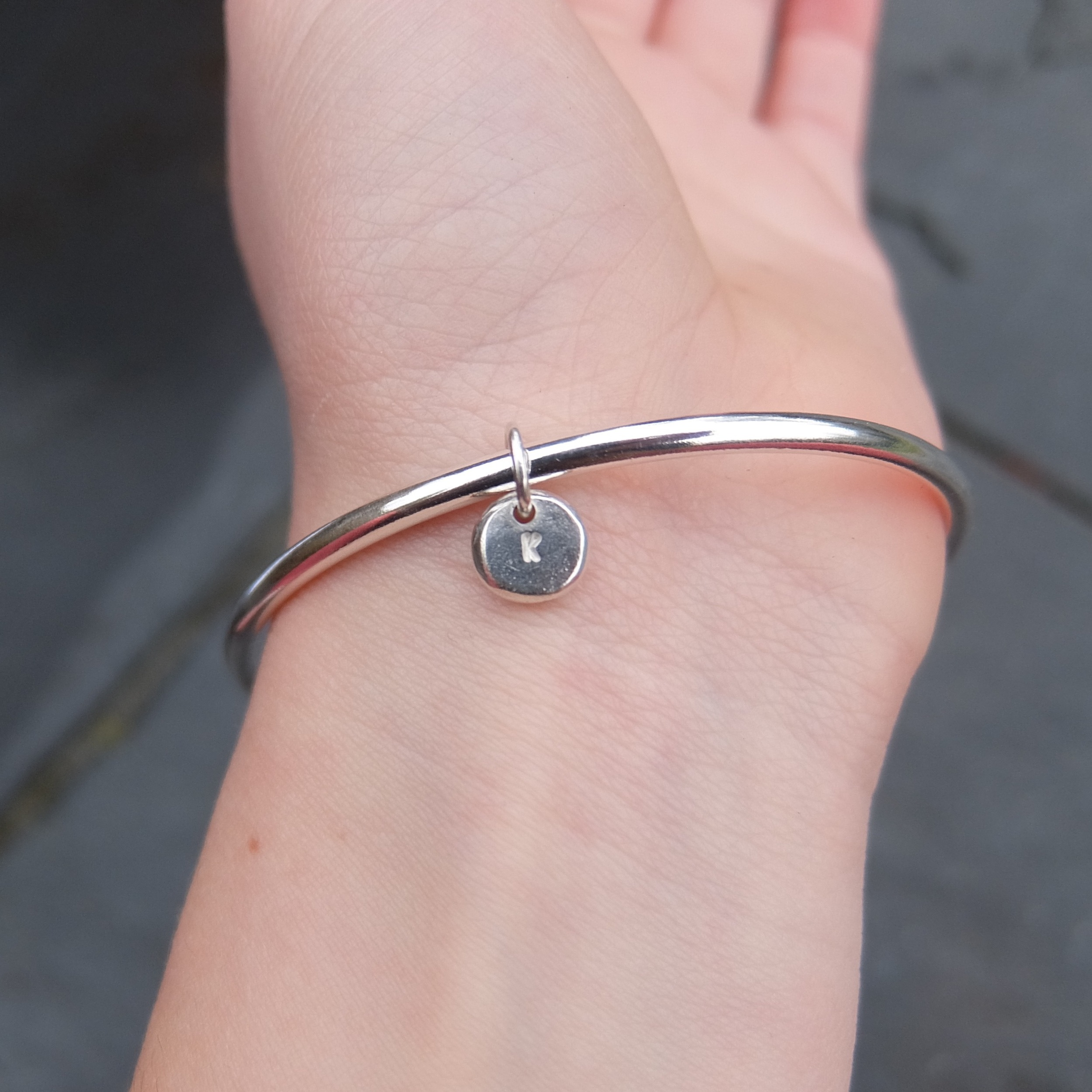 Sterling Silver, Personalised Letter Charm Bangle