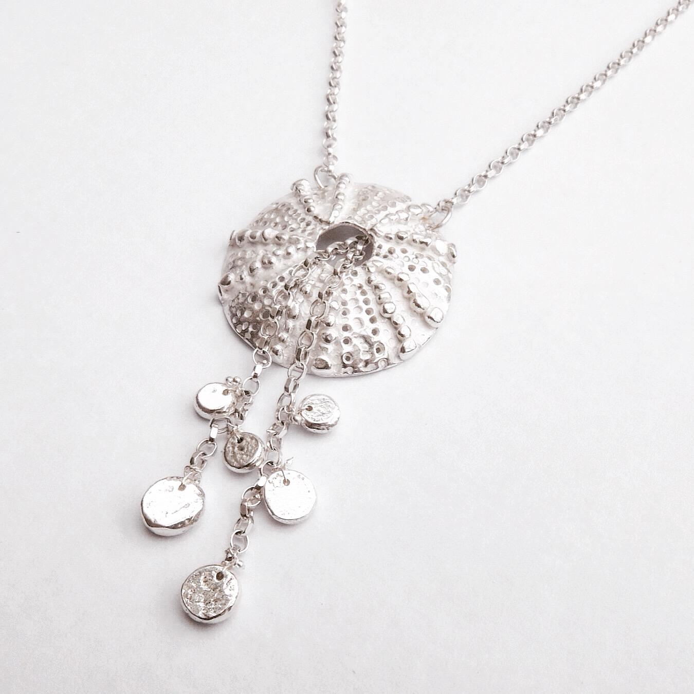 Sterling Silver Sea Urchin Pendant with Detachable Pebble Drops