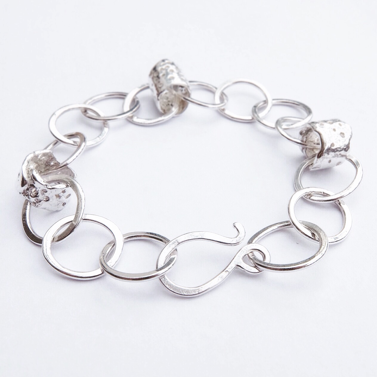 Sterling Silver Sea Sponge Handmade Chain Bracelet