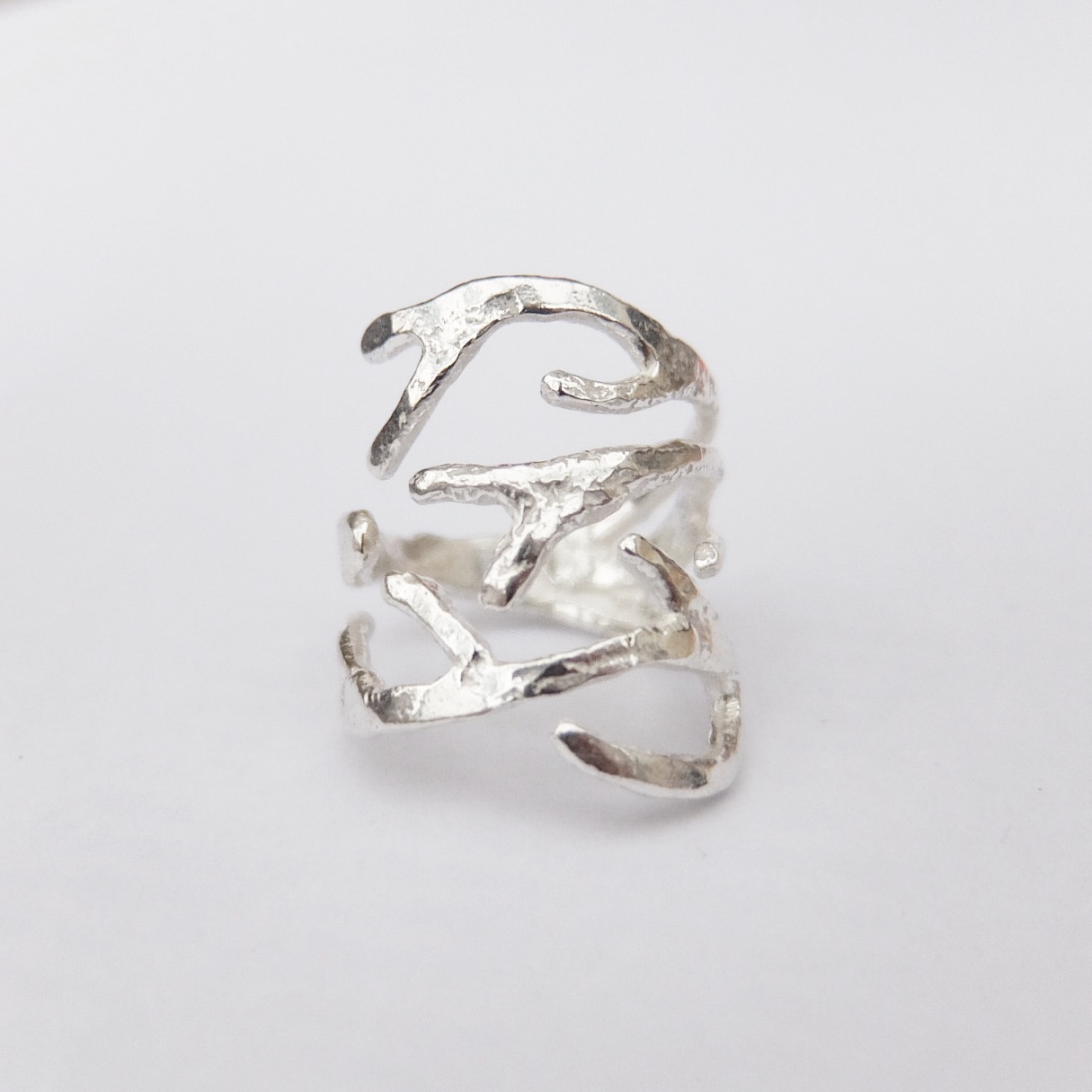Sterling Silver Coral Branch Statement Ring
