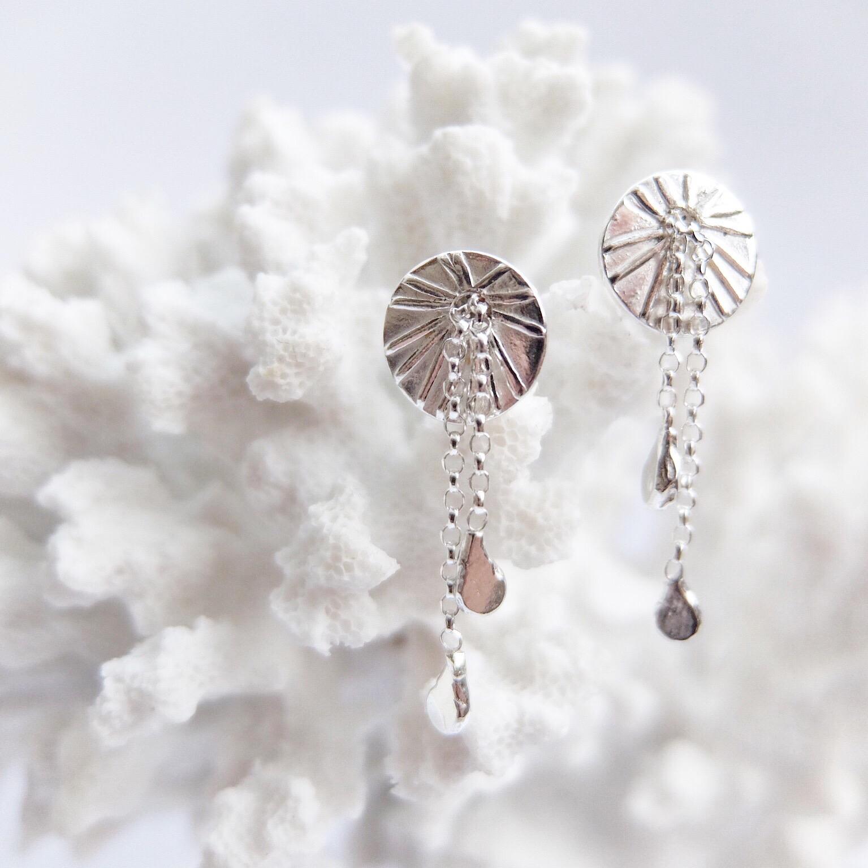 Silver Coral Drop Earrings